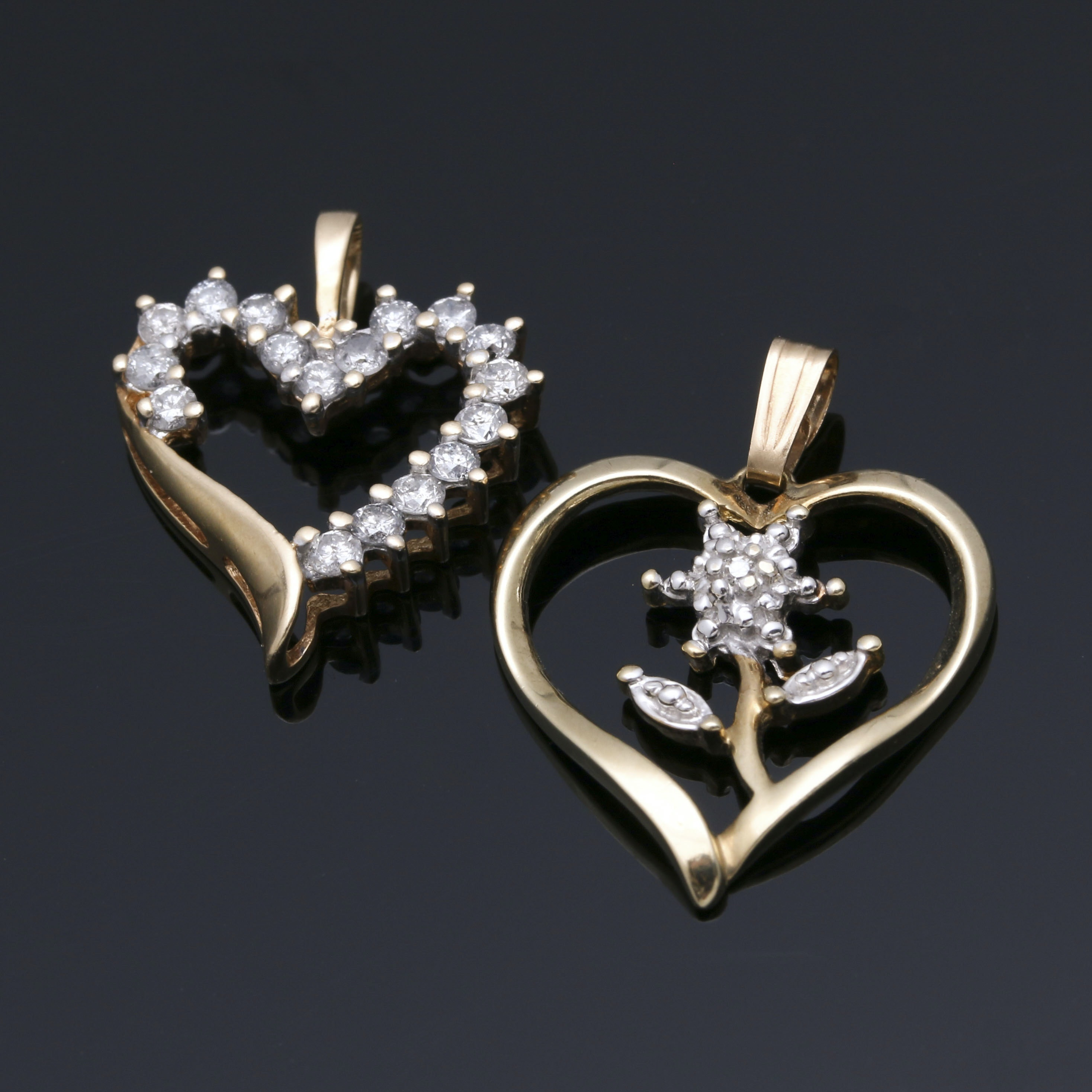 14K and 10K Yellow Gold Diamond Heart Pendants