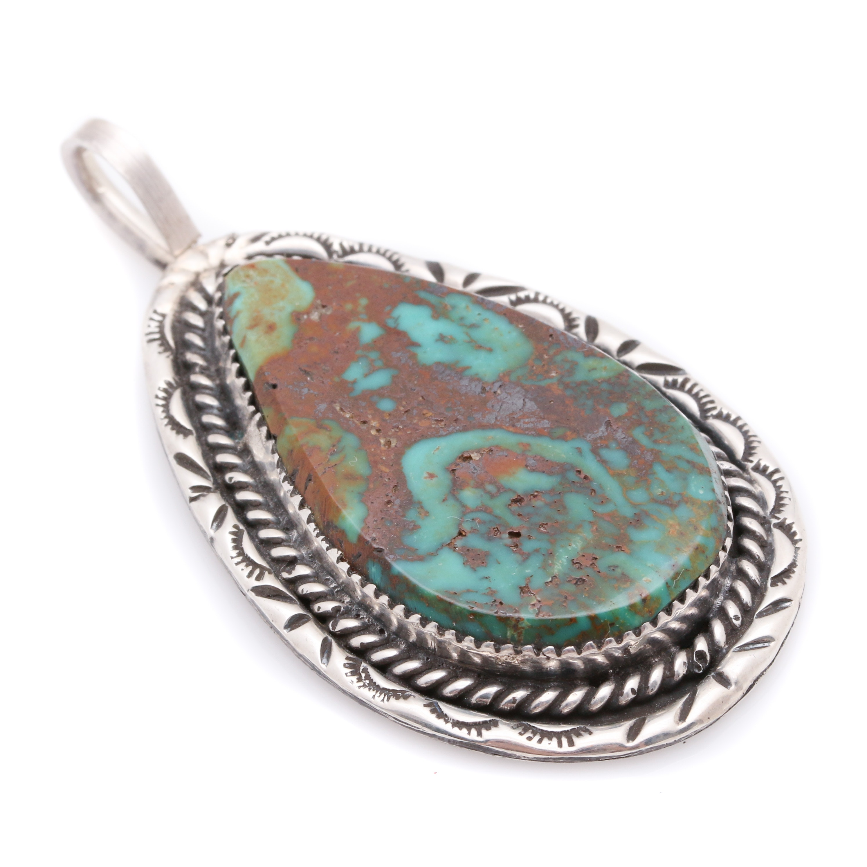Fred Thompson Sterling Silver Boulder Turquoise Navajo Pendant