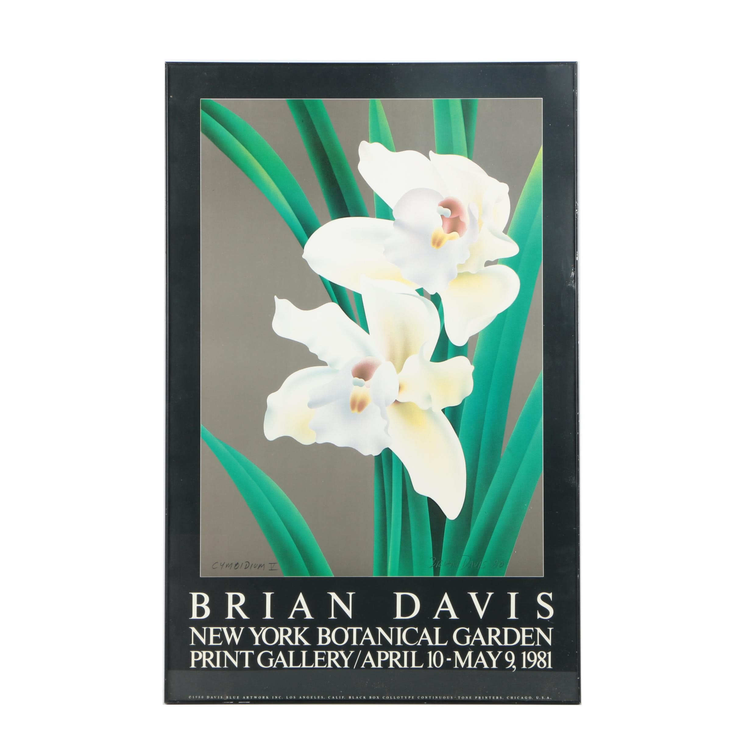 "1980 New York Botanical Garden Poster After Brian Davis's ""Cymbidium V"""