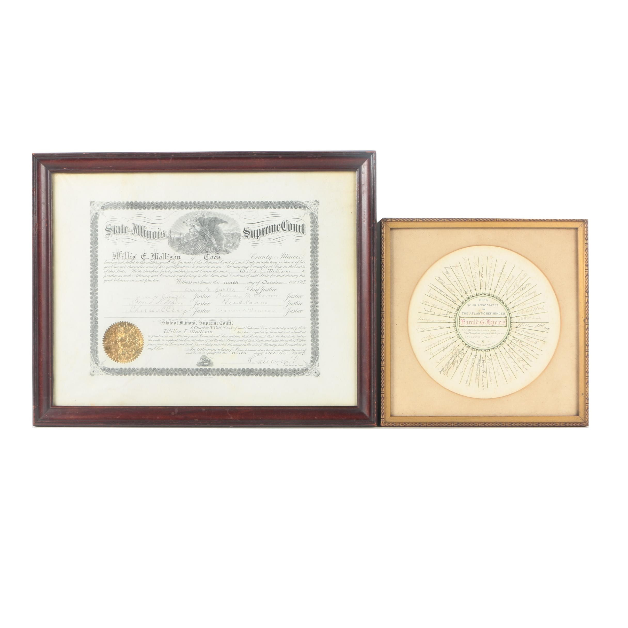 Unmatched Pair of Framed 100 Year Old Documents
