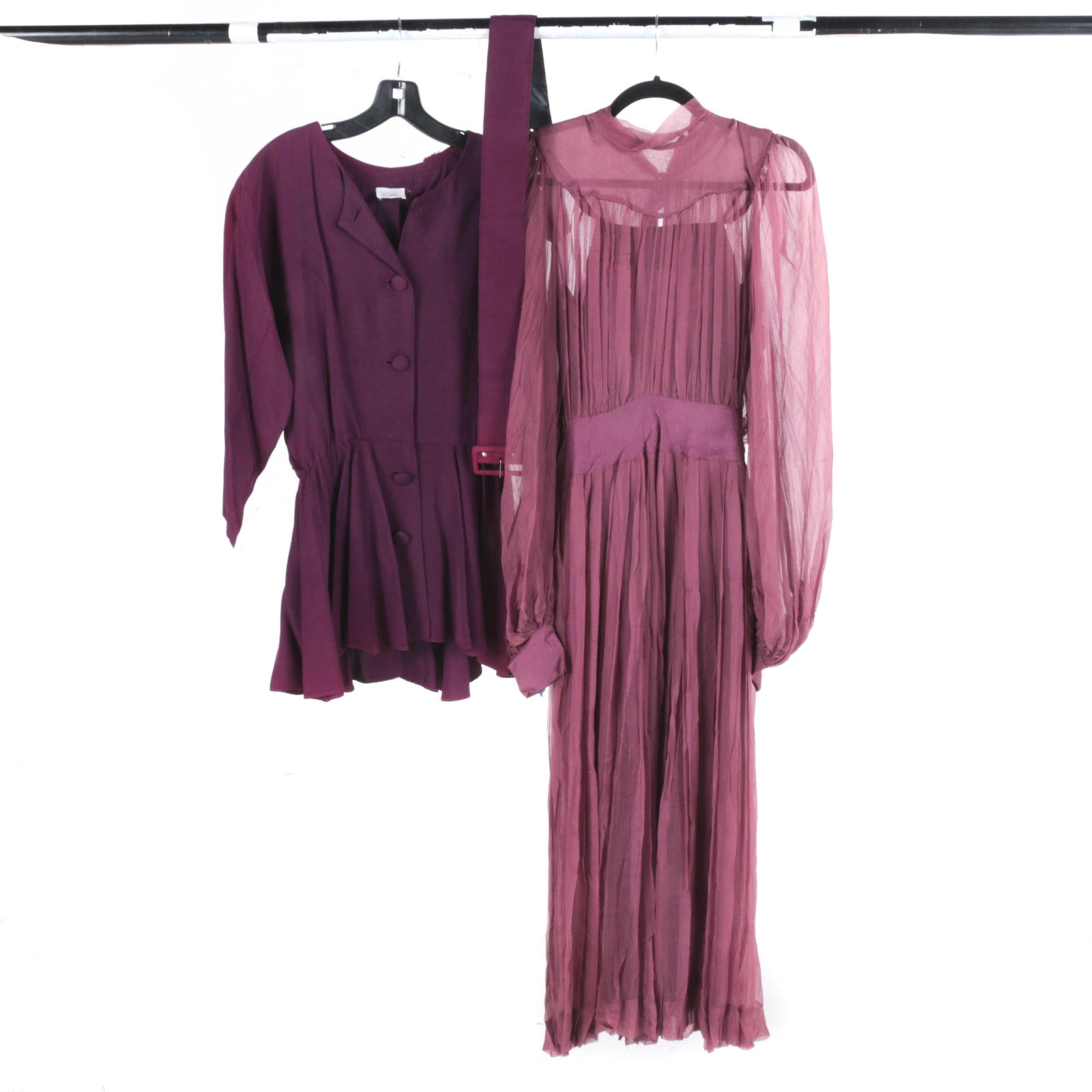 "Circa 1980""s Kwai Top With Chiffon Dress"