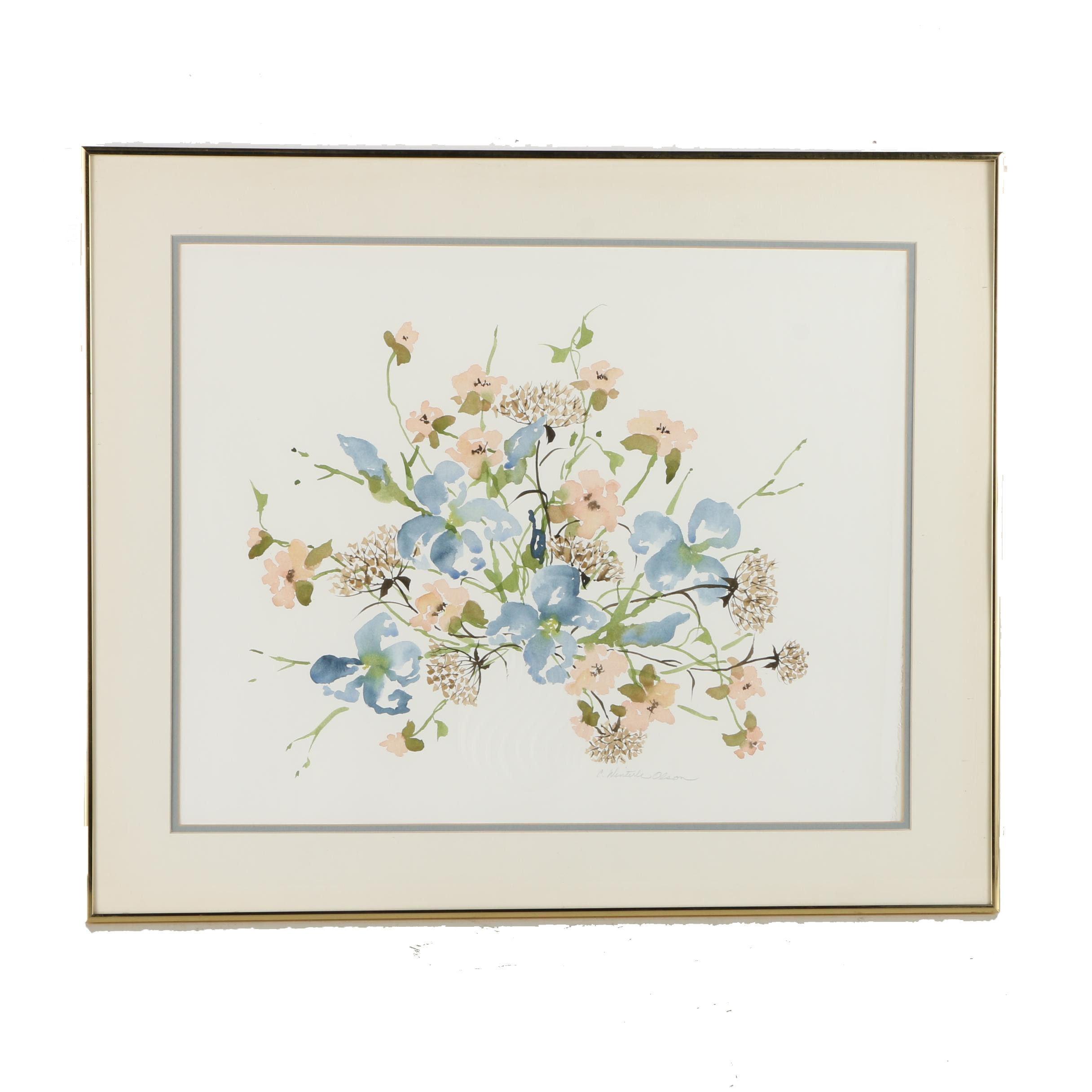 Charlene Winter Olson Embossed Watercolor Painting on Paper of Flowers