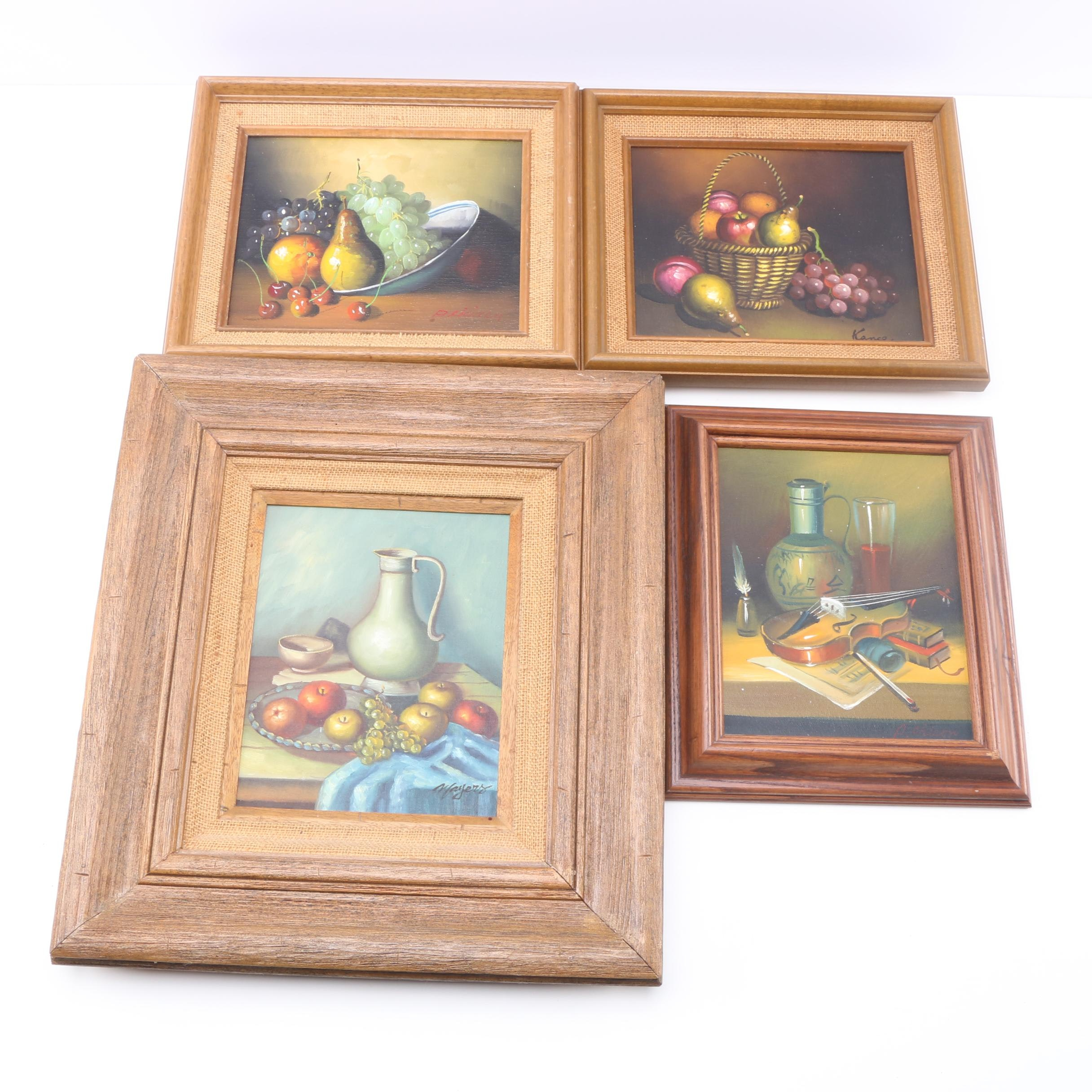 Oil Paintings on Canvas of Still Lifes by Various Artists