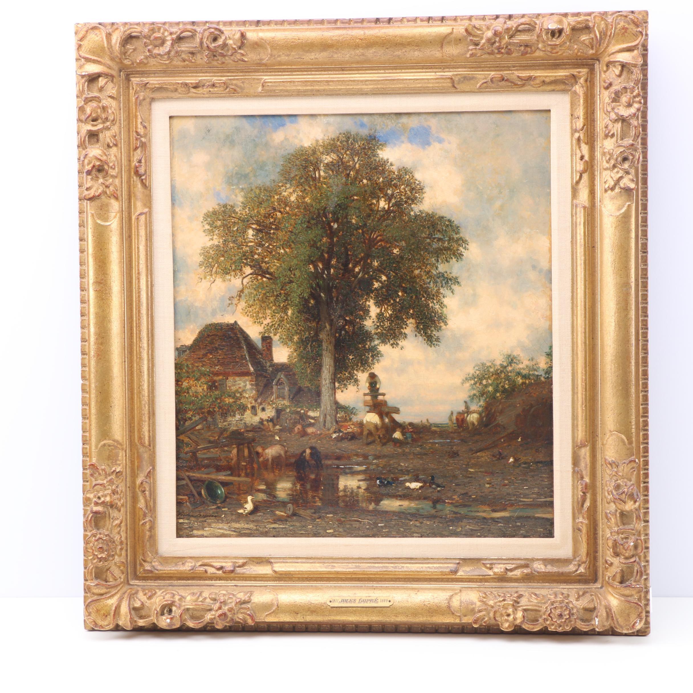 "Jules Dupré Oil Painting on Canvas ""Farmyard"""