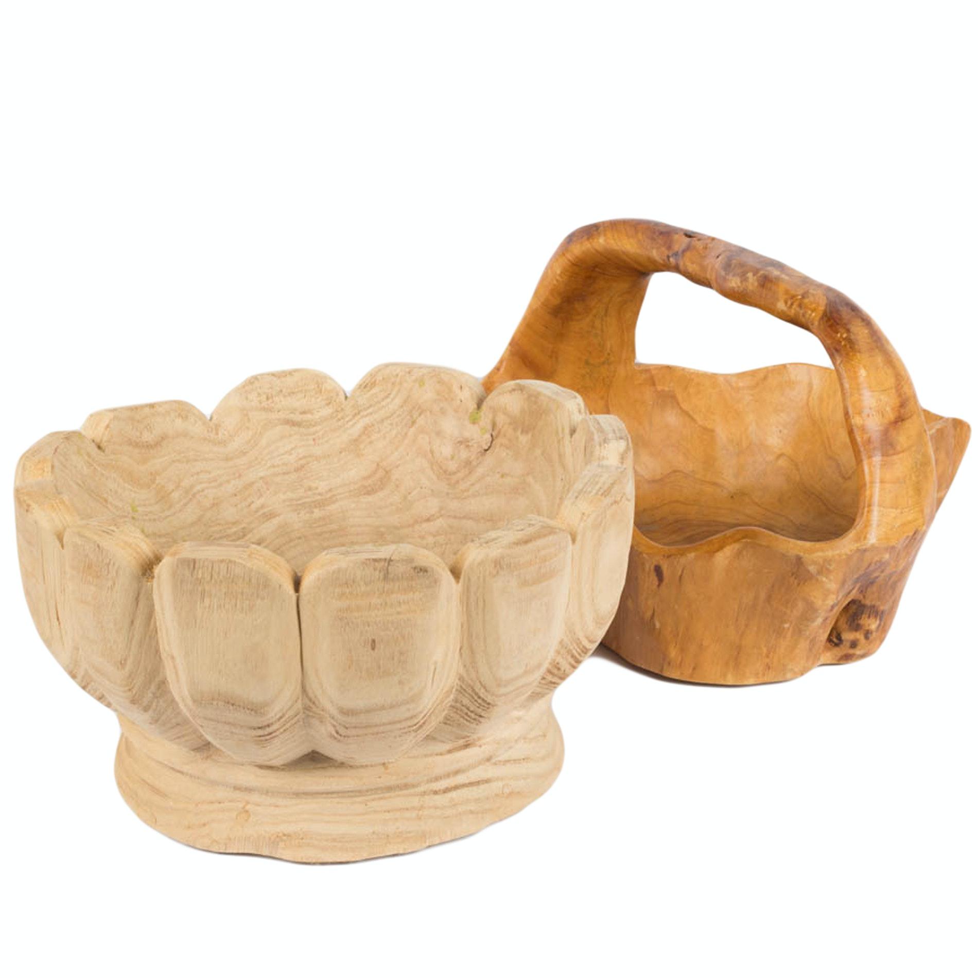 Handcrafted Wooden Centerpiece Bowls