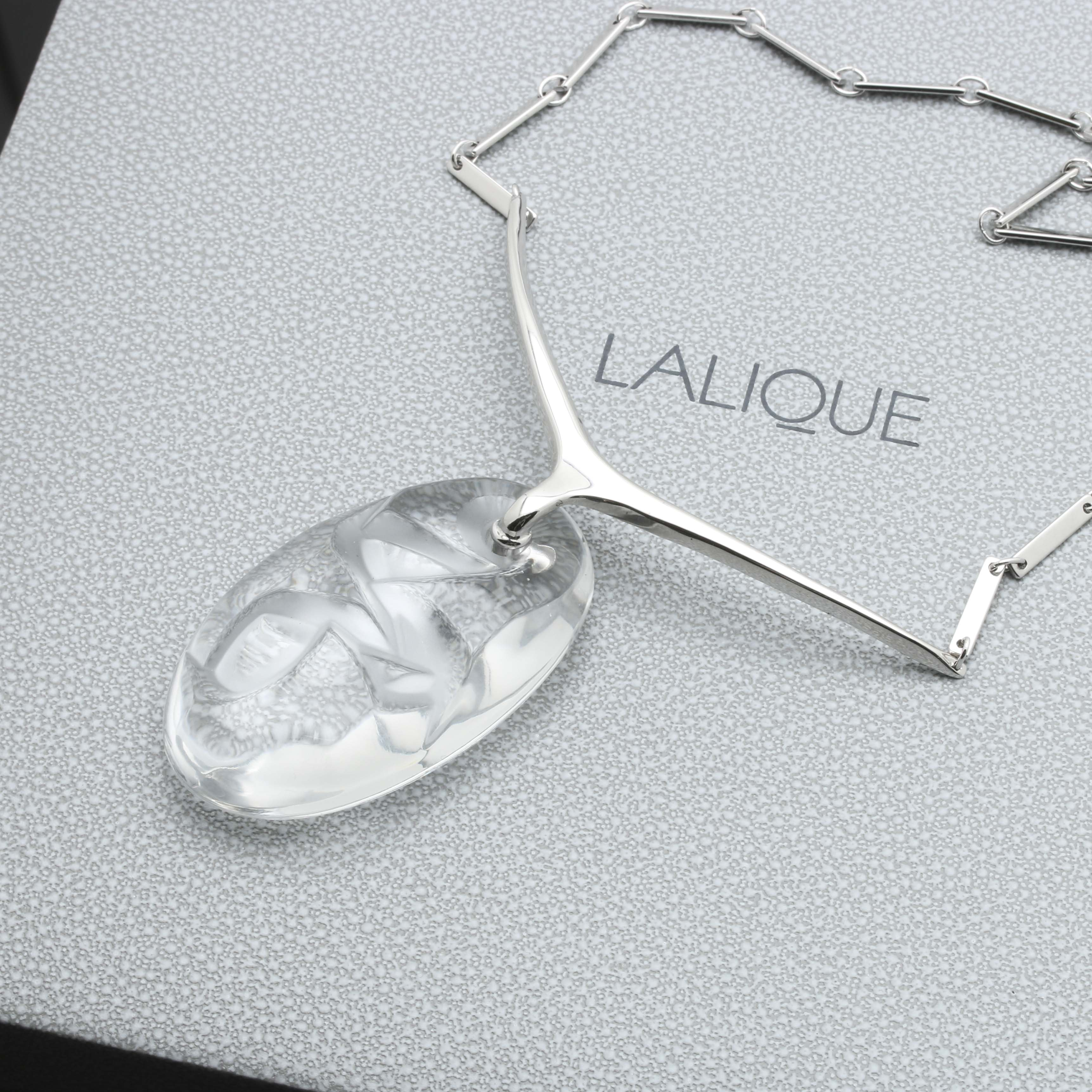 Lalique Sterling Silver Crystal Necklace with Storage Box