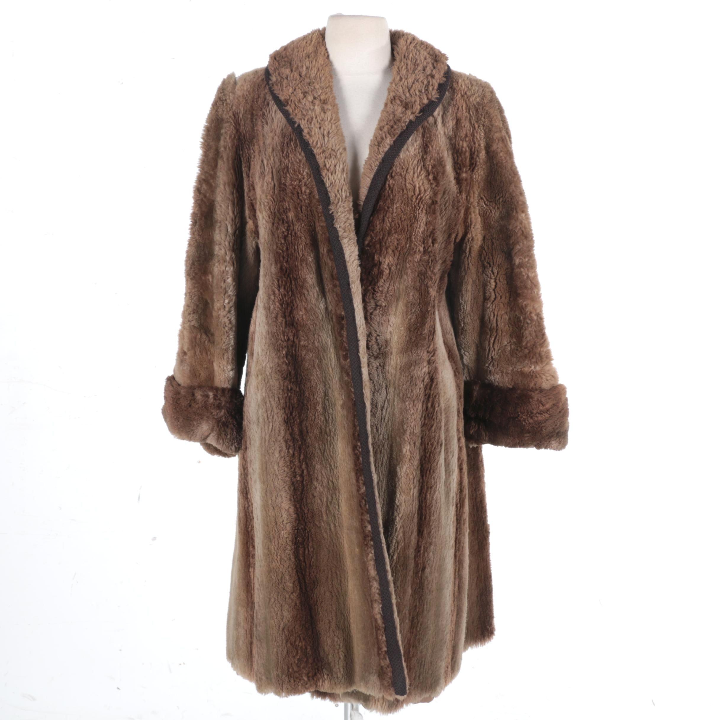 Sheered Beaver Fur Women's Dress Coat