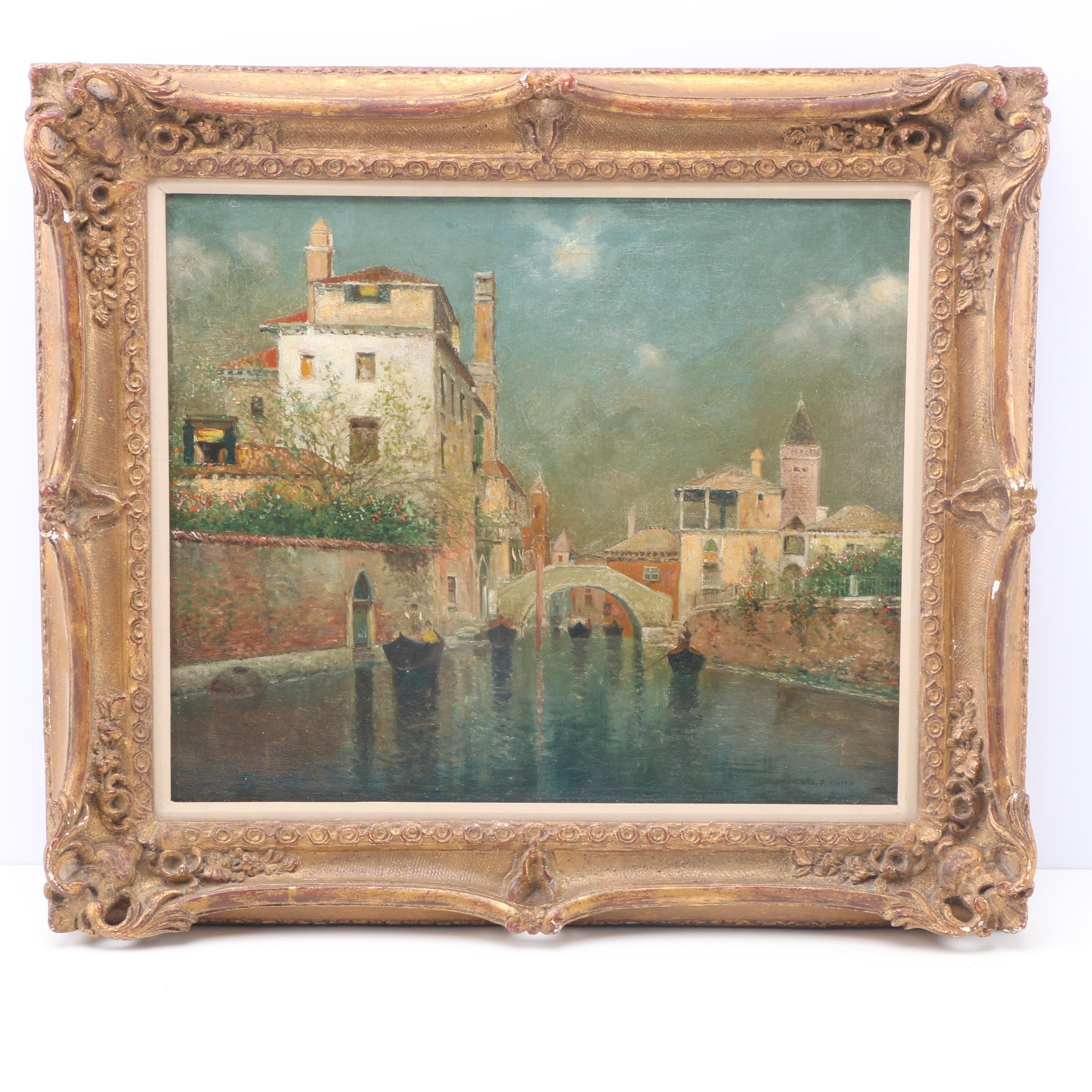 Henry Pember Smith Oil Painting on Wood Panel of Venetian Scene