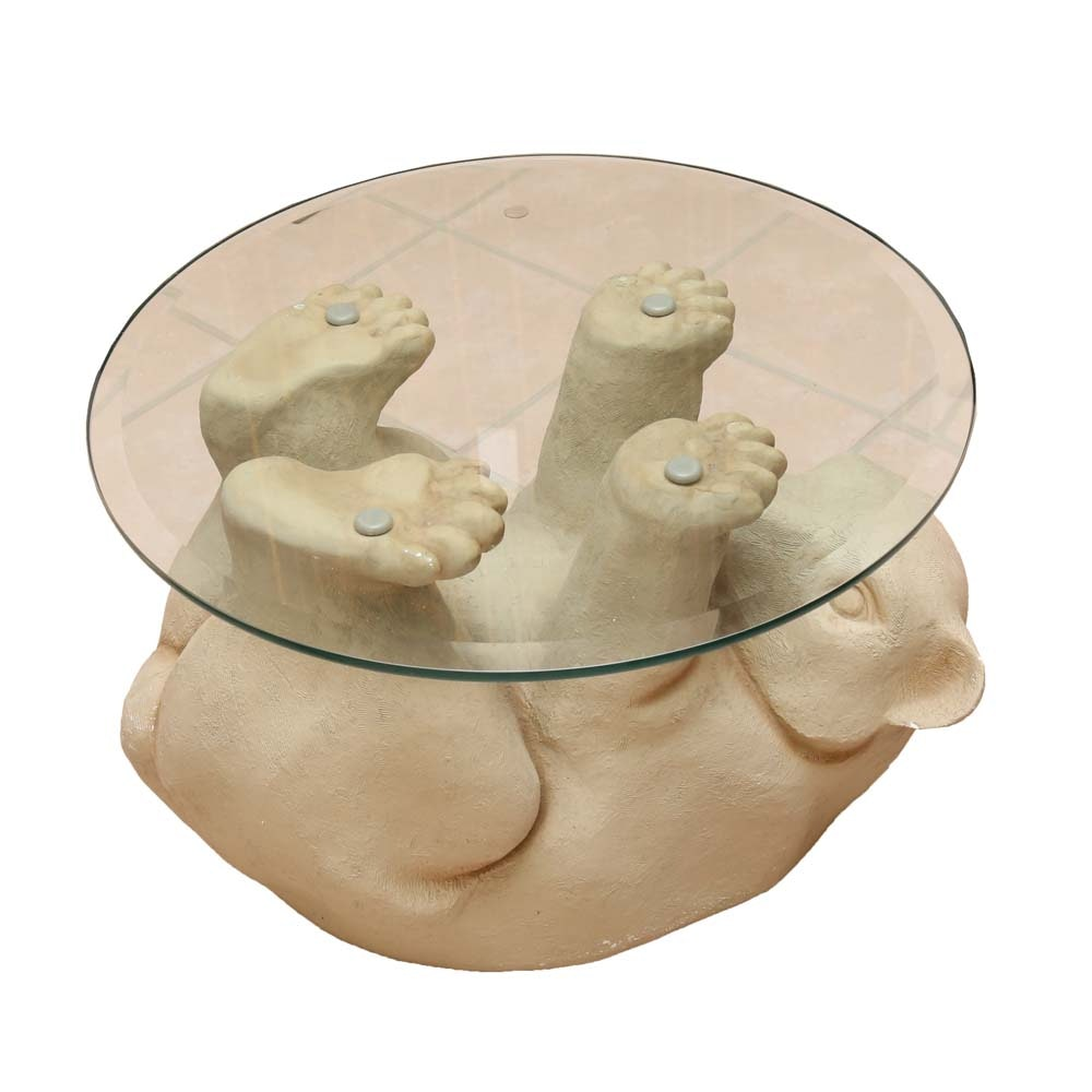 Charmant Glass Top Bear Cub Table ...