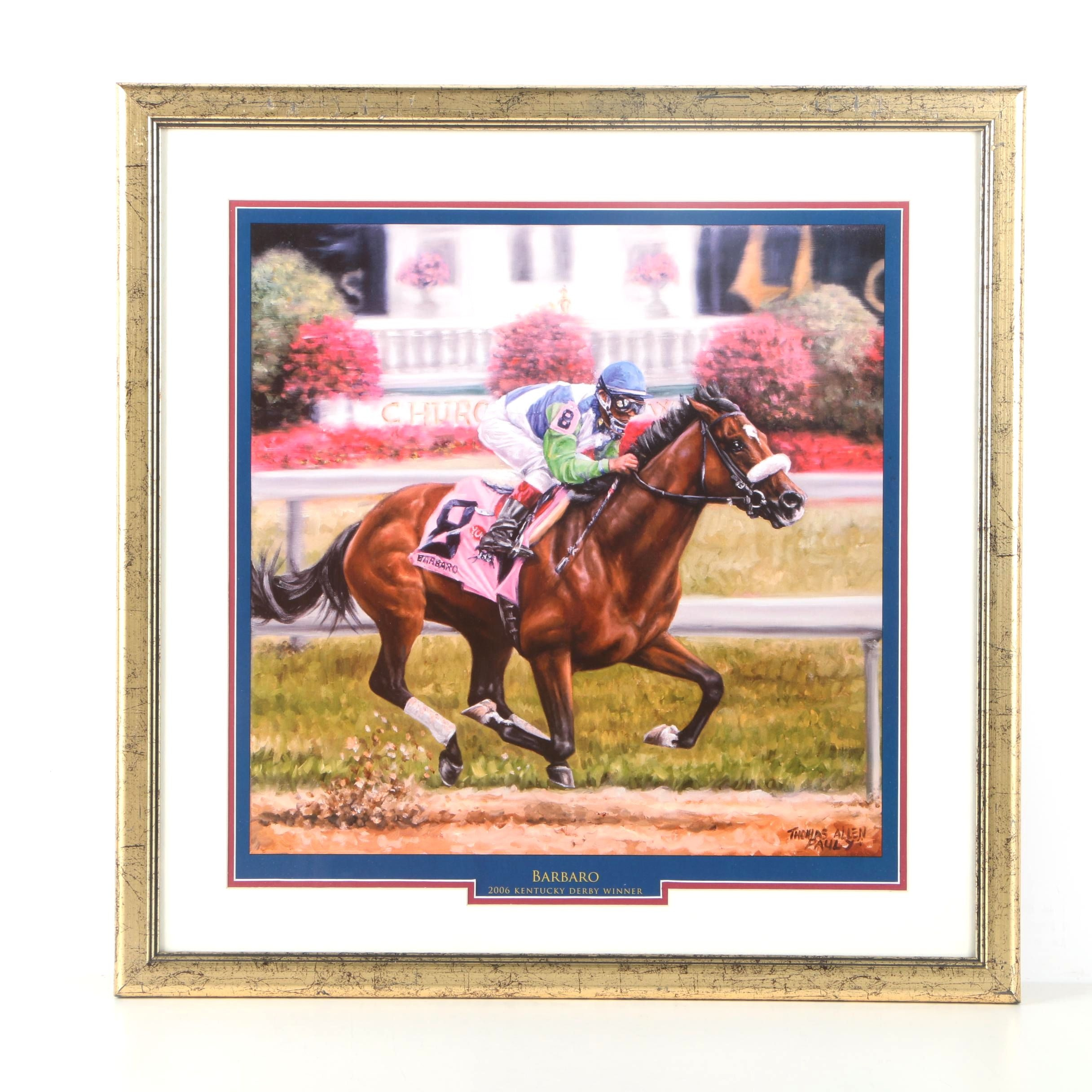 """After Thomas Allen Pauly Offset Lithograph on Paper """"Barbaro"""""""