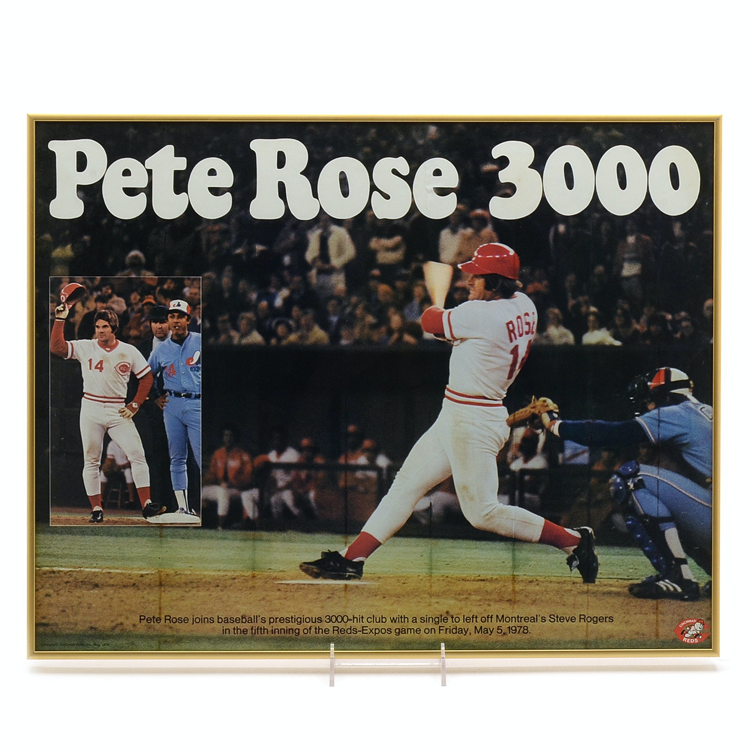 "1978 Pete Rose Reds Framed ""3000th"" Hit Poster"