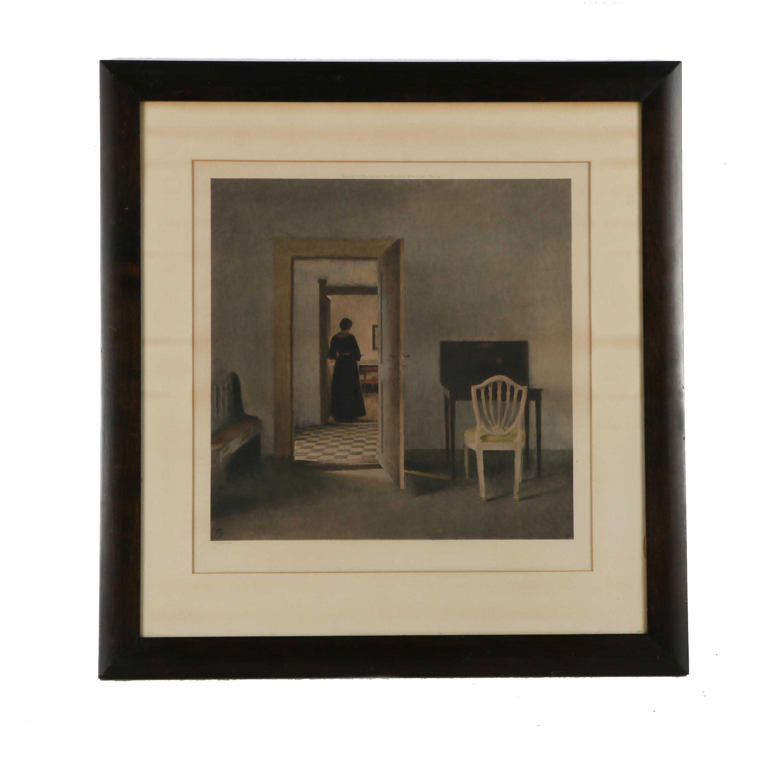 """Lithograph on Paper after an Original Peter Ilsted Painting """"Interior with White Chair"""""""