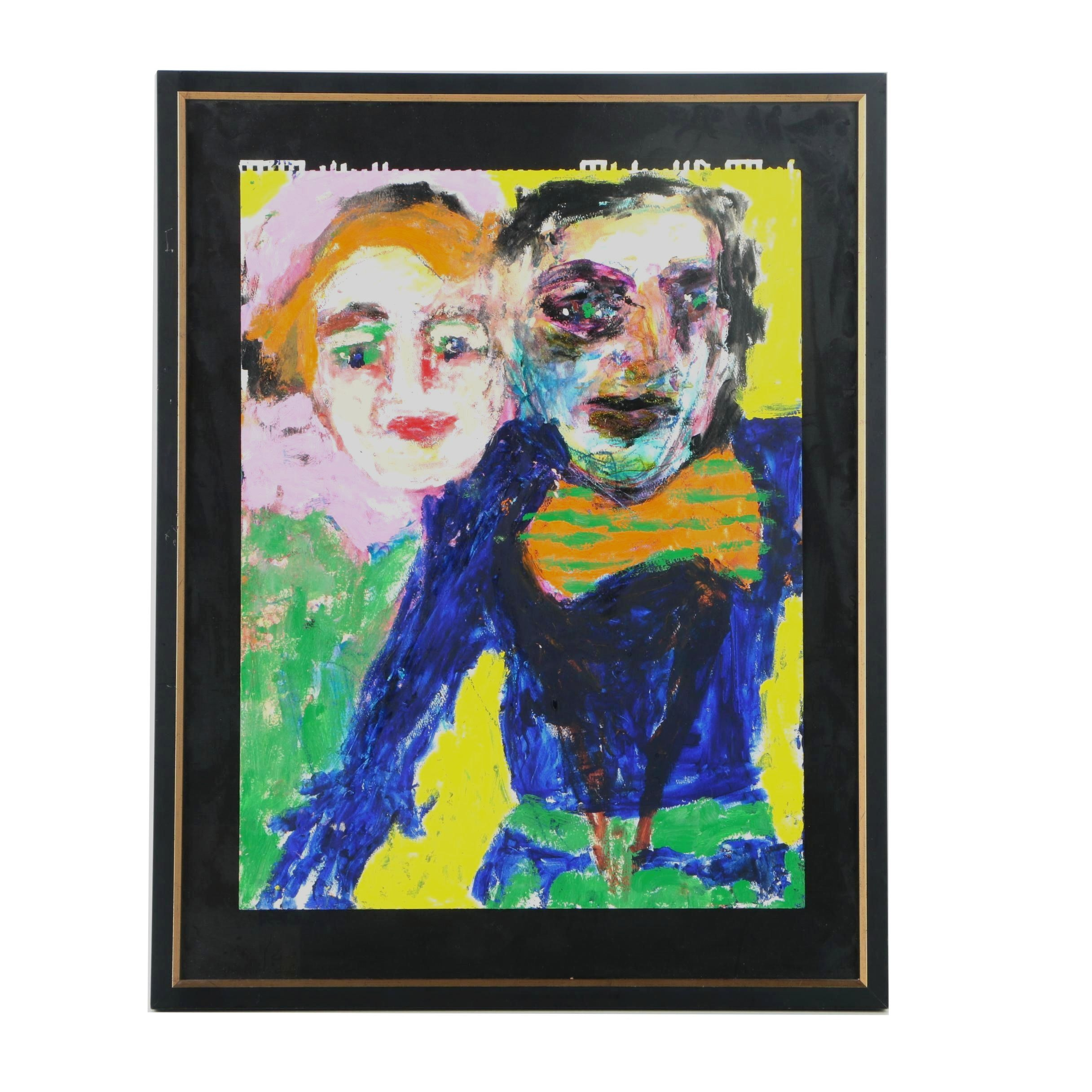 Mixed Media Painting on Paper of Two Figures