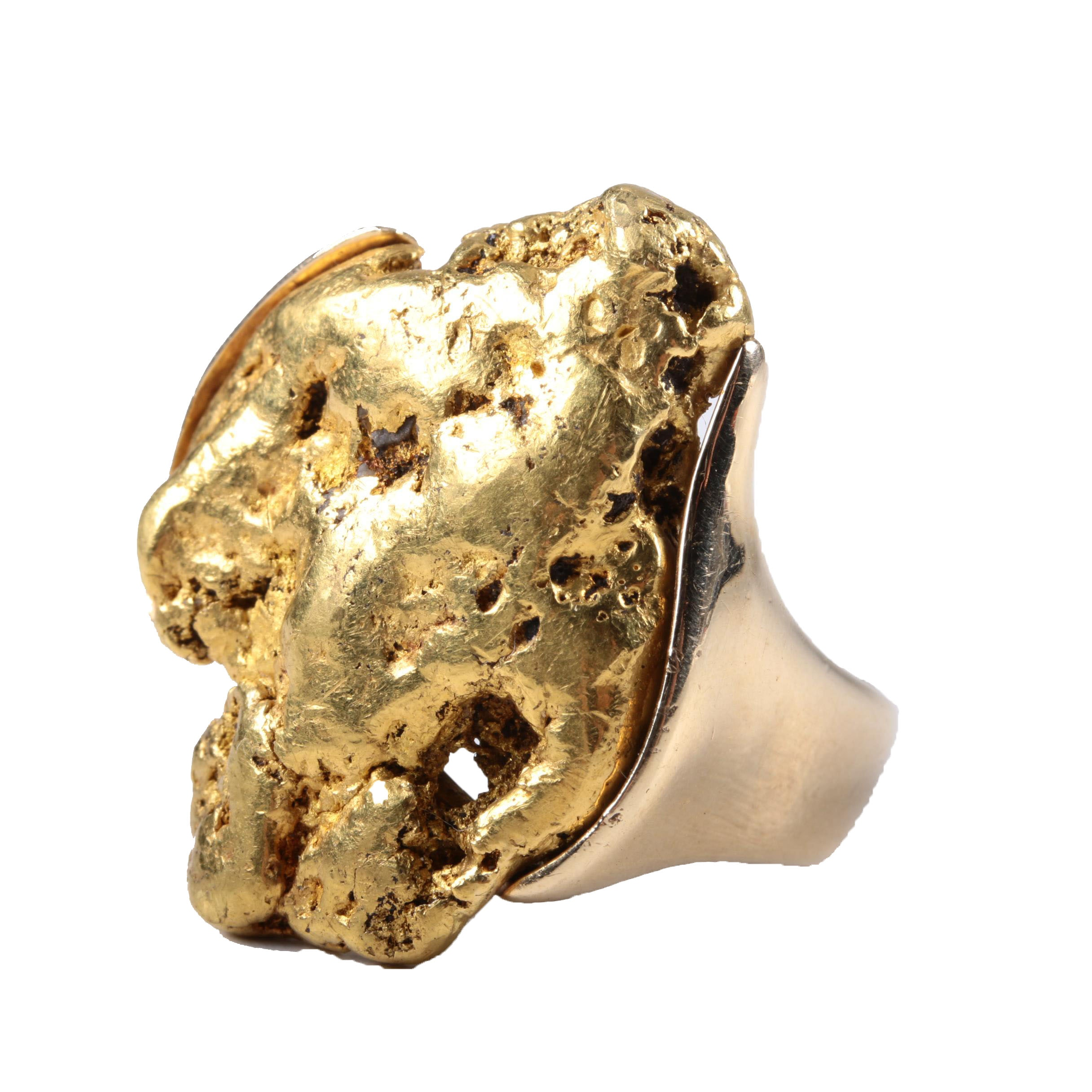 A 22K Yellow Gold Nugget Ring in a 14K Yellow Gold Setting