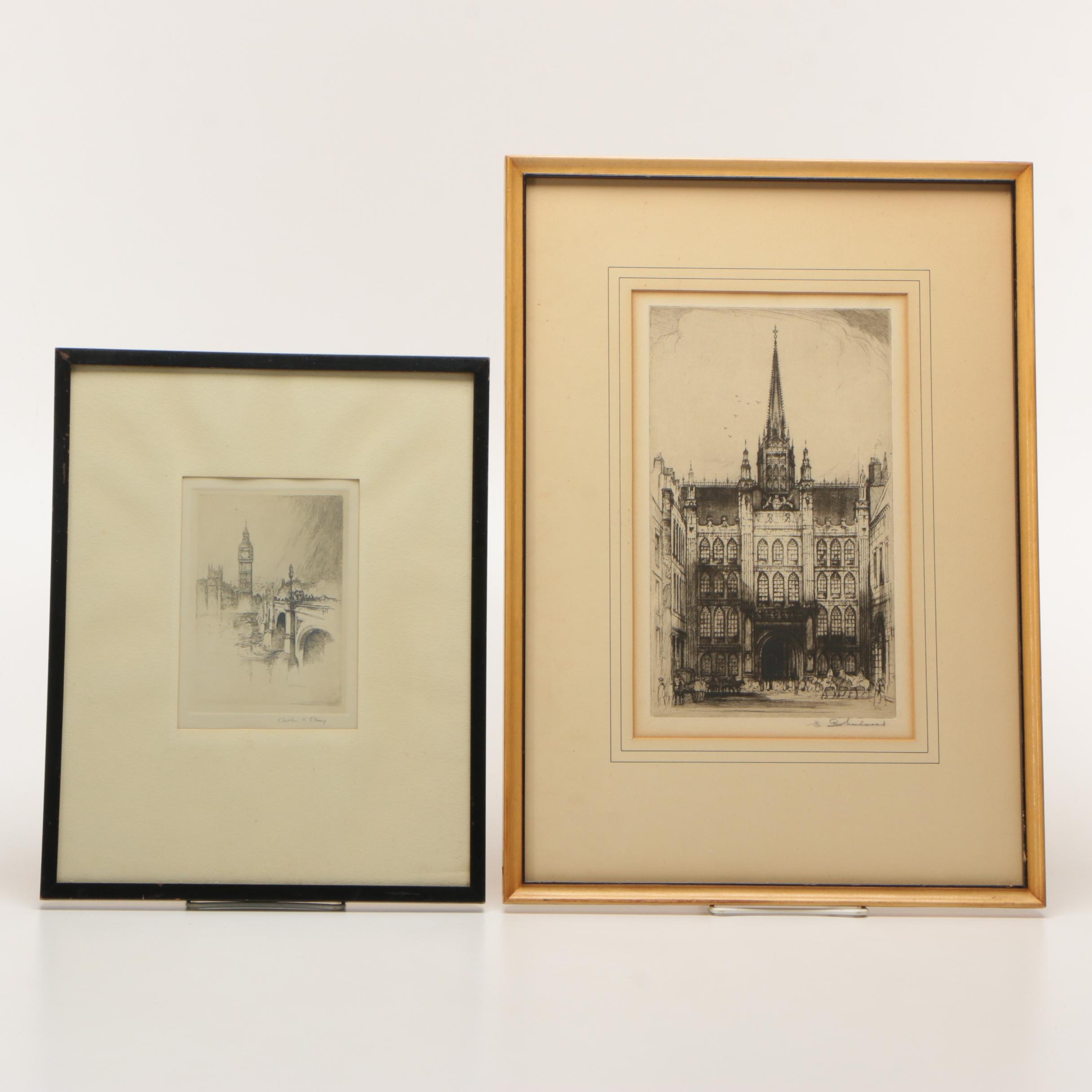 Edward Sharland and Arthur L. Cherry Drypoint Etchings of European Architecture