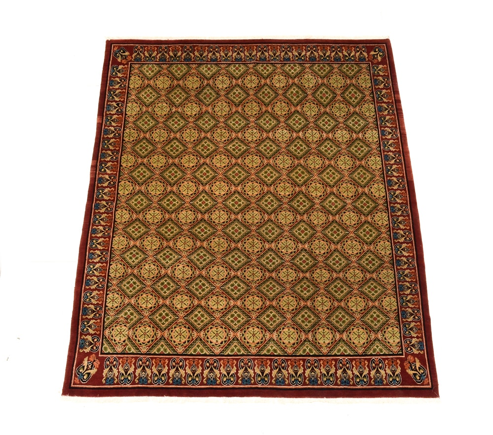 Neoclassical Style Hand Knotted Wool Area Rug
