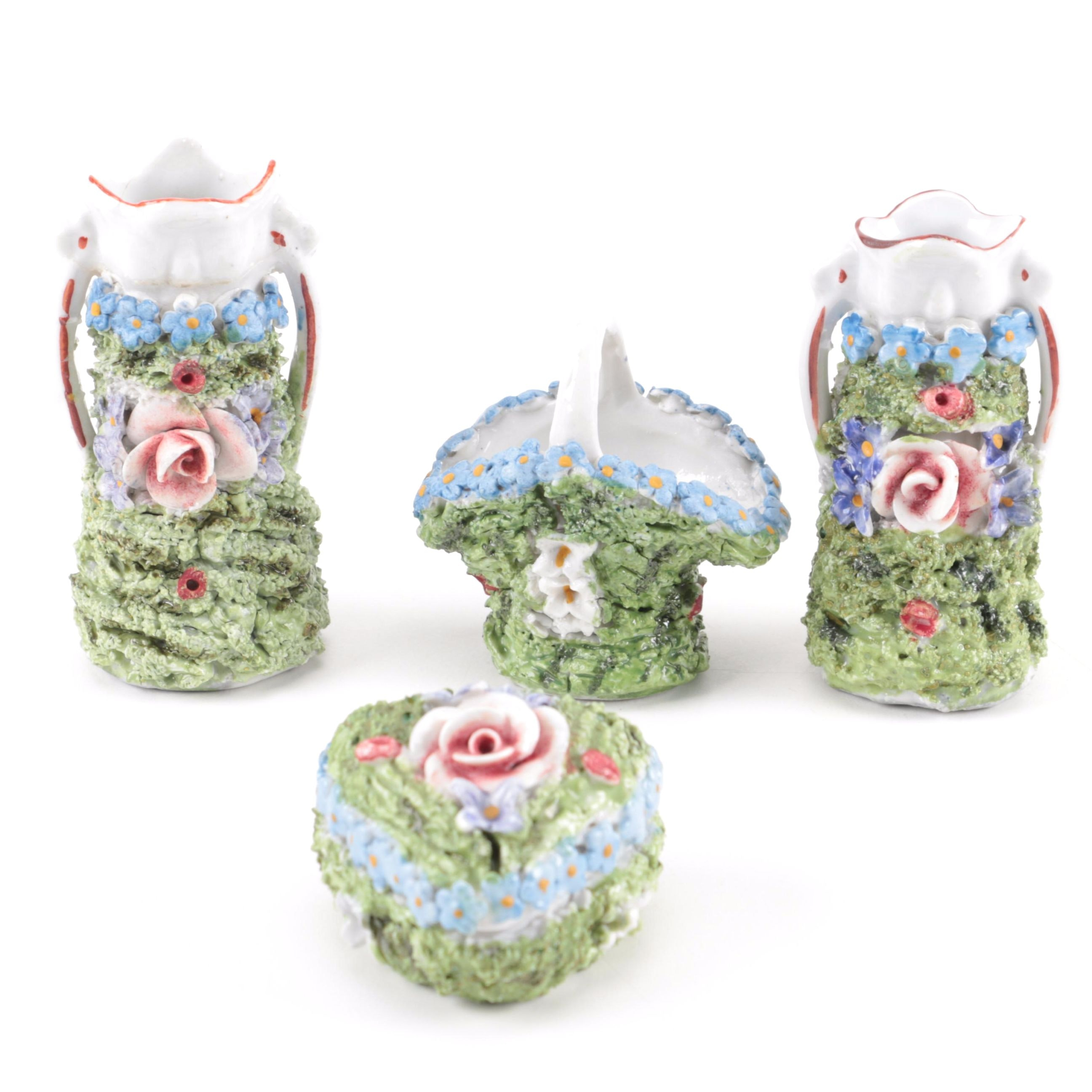 Elfinware Floral Motif Ceramic Vases and Trinket Box from Germany