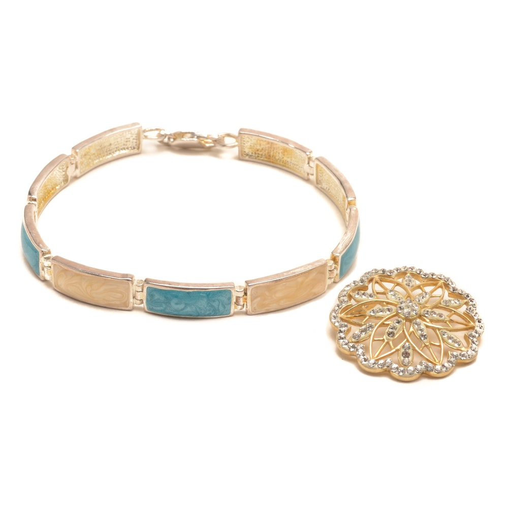 Sterling Silver and Enamel Link Bracelet and Gold Tone Pin
