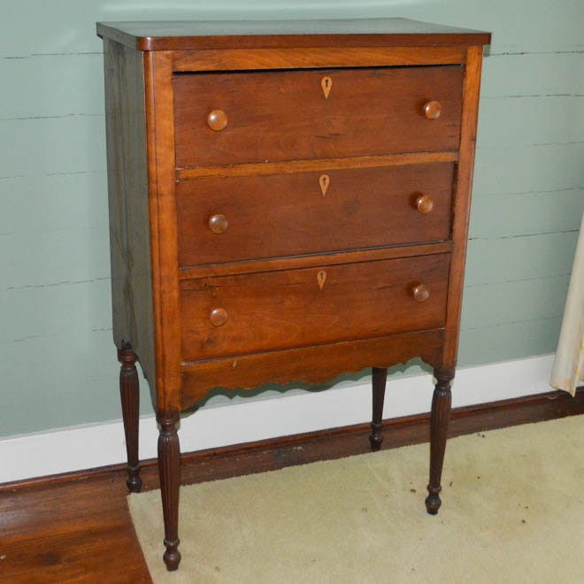Antique Cherry Sheraton Style Chest of Drawers