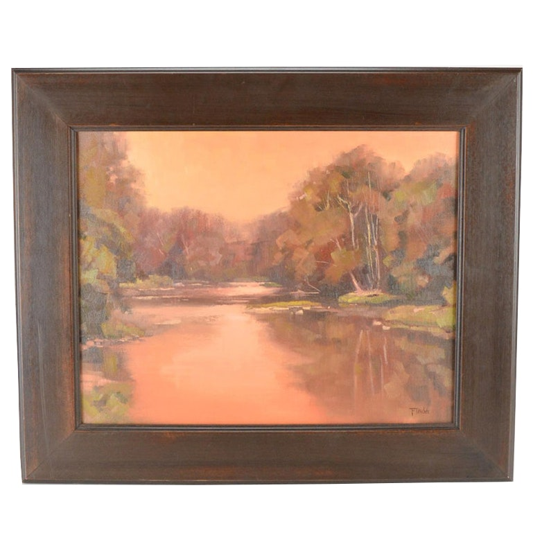"Bill Fletcher Framed Oil of Canvas ""Elkhorn Dusk"""