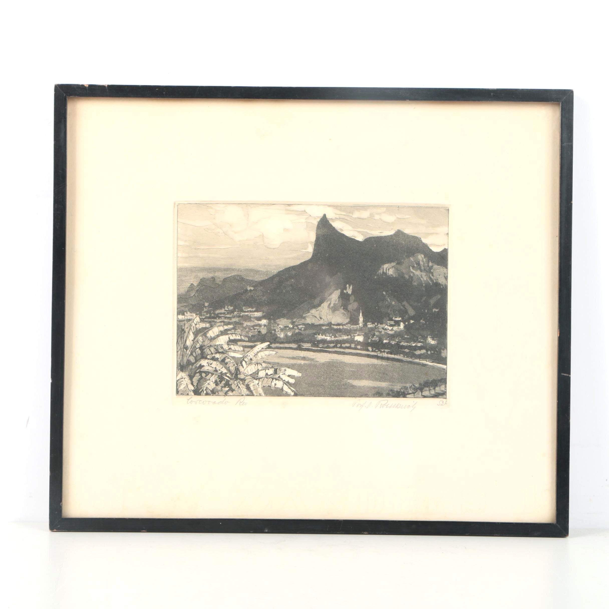 "Signed Etching With Aquatint ""Corcovado Rio"""