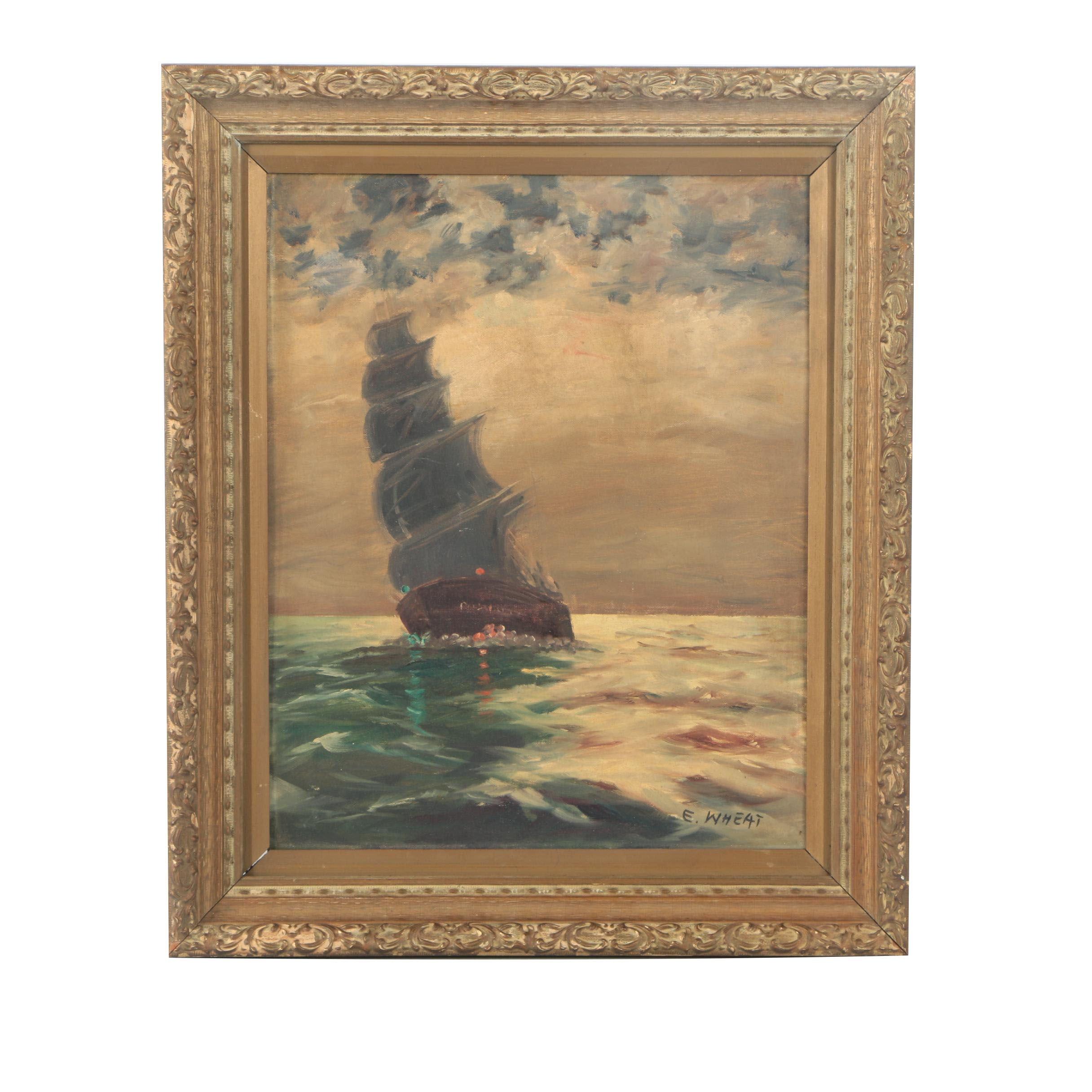 E. Wheat Oil Painting Ship at Sea