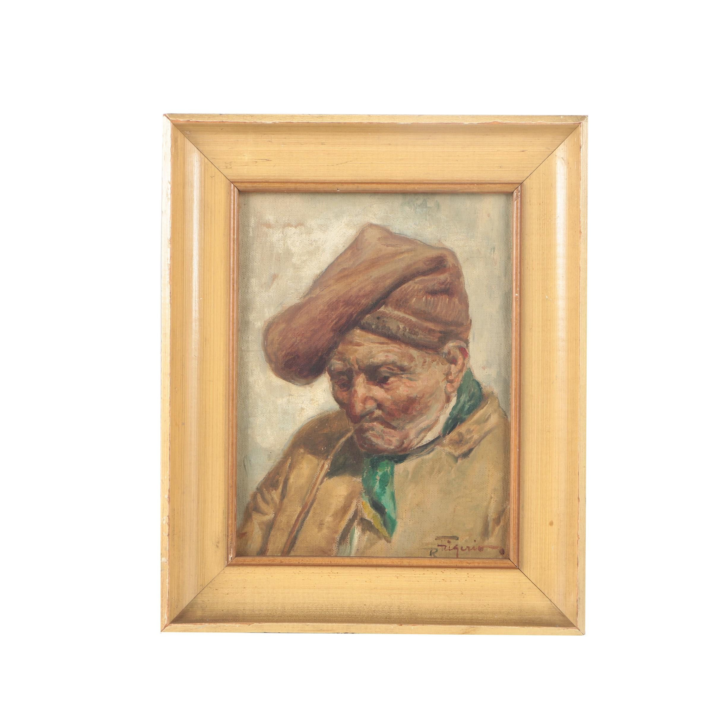 Roberto Figerio Oil Portrait on Canvas of a Peasant Man
