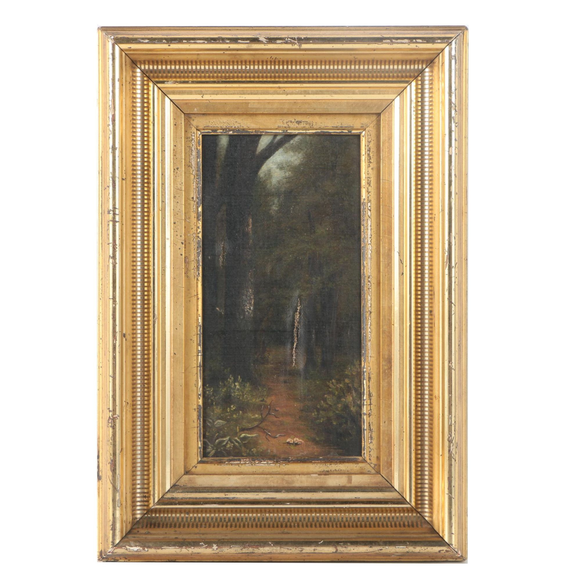 Antique Original Oil Painting on Canvas Board of Wooded Scene