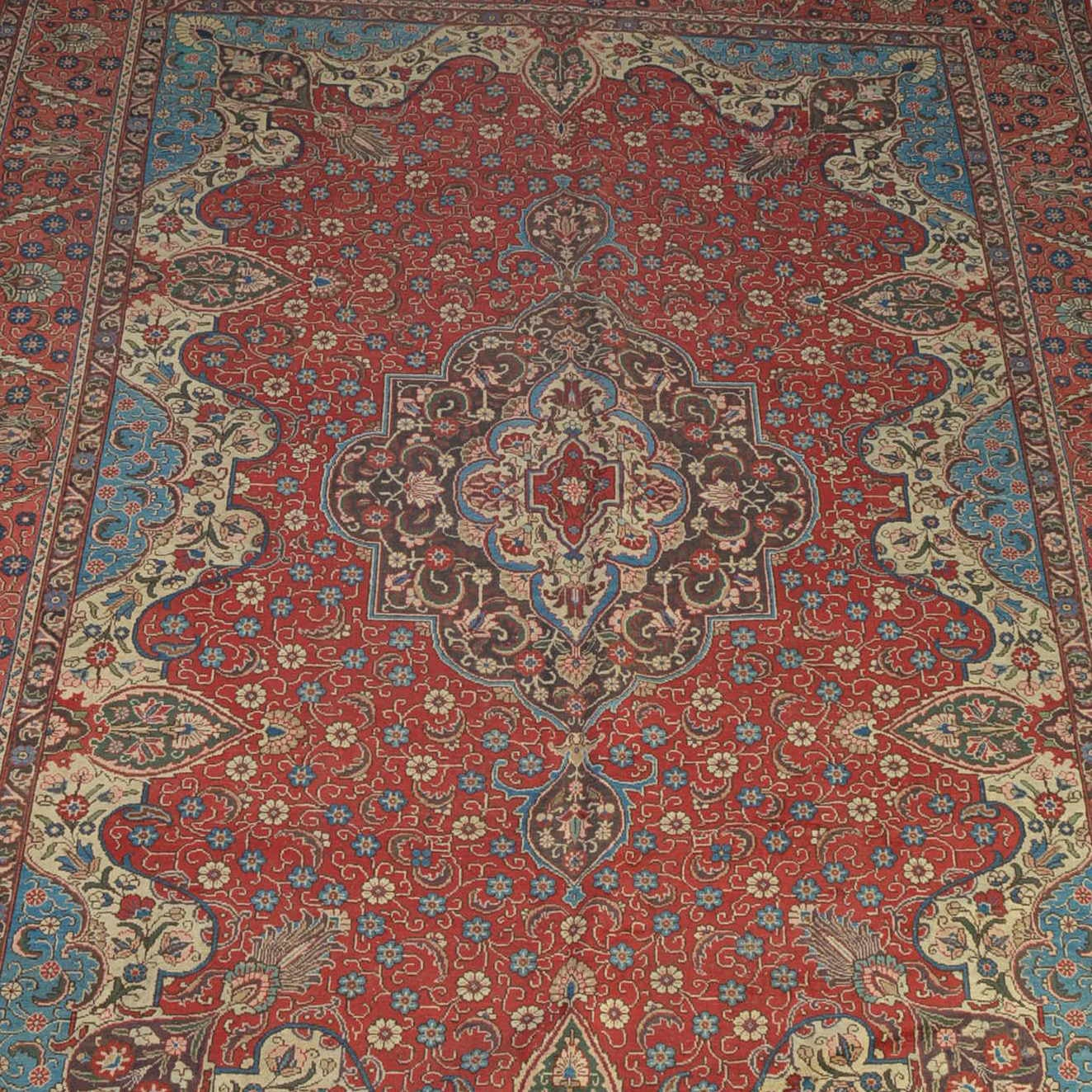 Semi Antique Hand Knotted Persian Mallayer Sarouk Area Rug