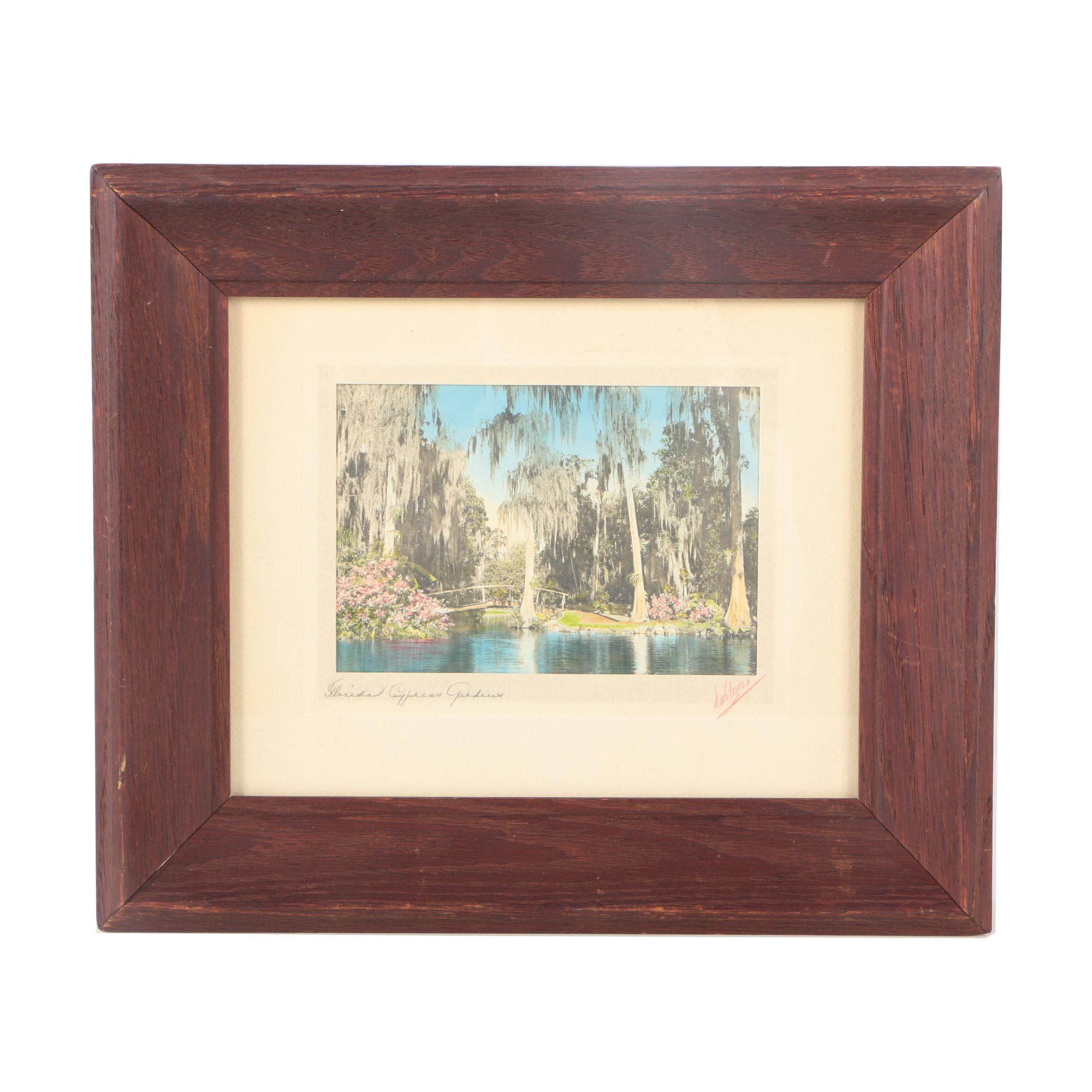 "Dahloren Hand Embellished Lithograph on Paper ""Florida Cypress Gardens"""