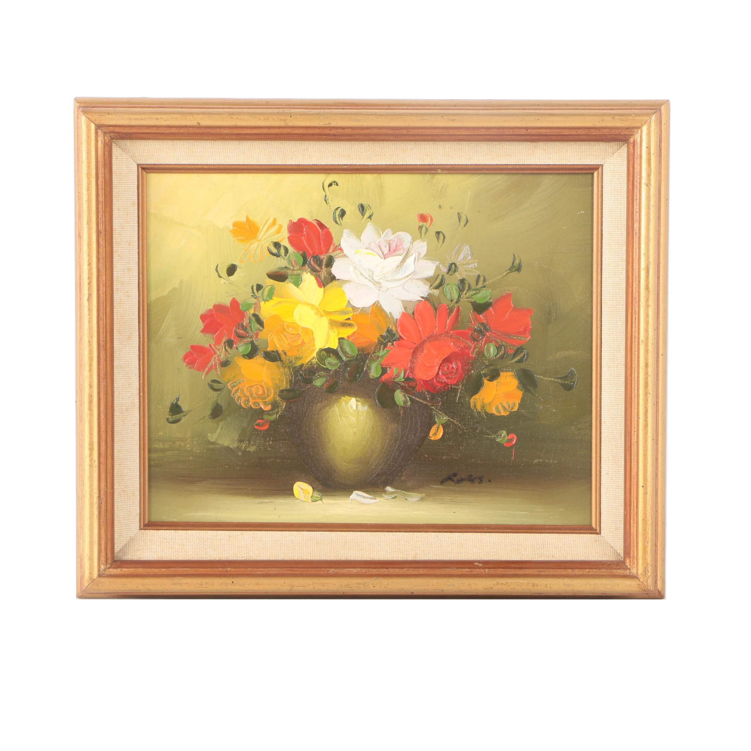 Ross Oil Painting on Canvas Board Floral Still Life
