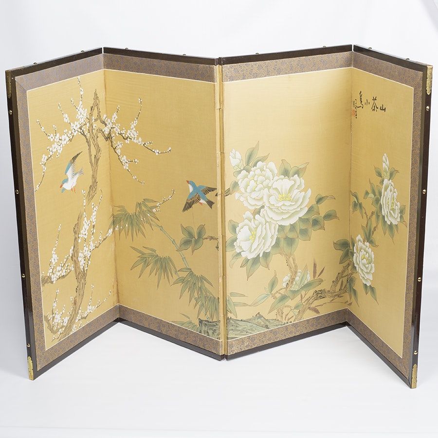 Chinese Silk Tabletop Screen