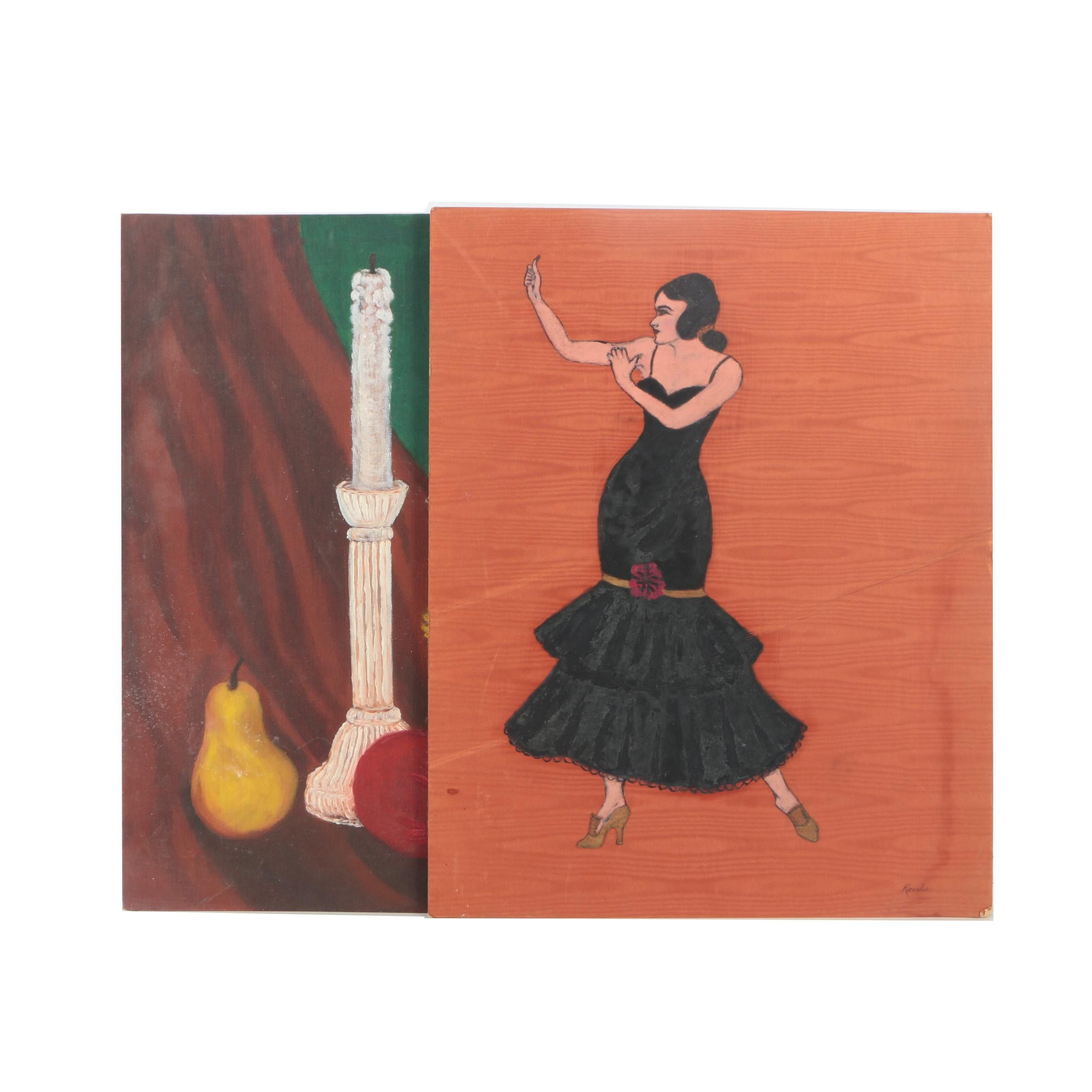 Rosalie Oil Paintings of a Dancer and Still Life