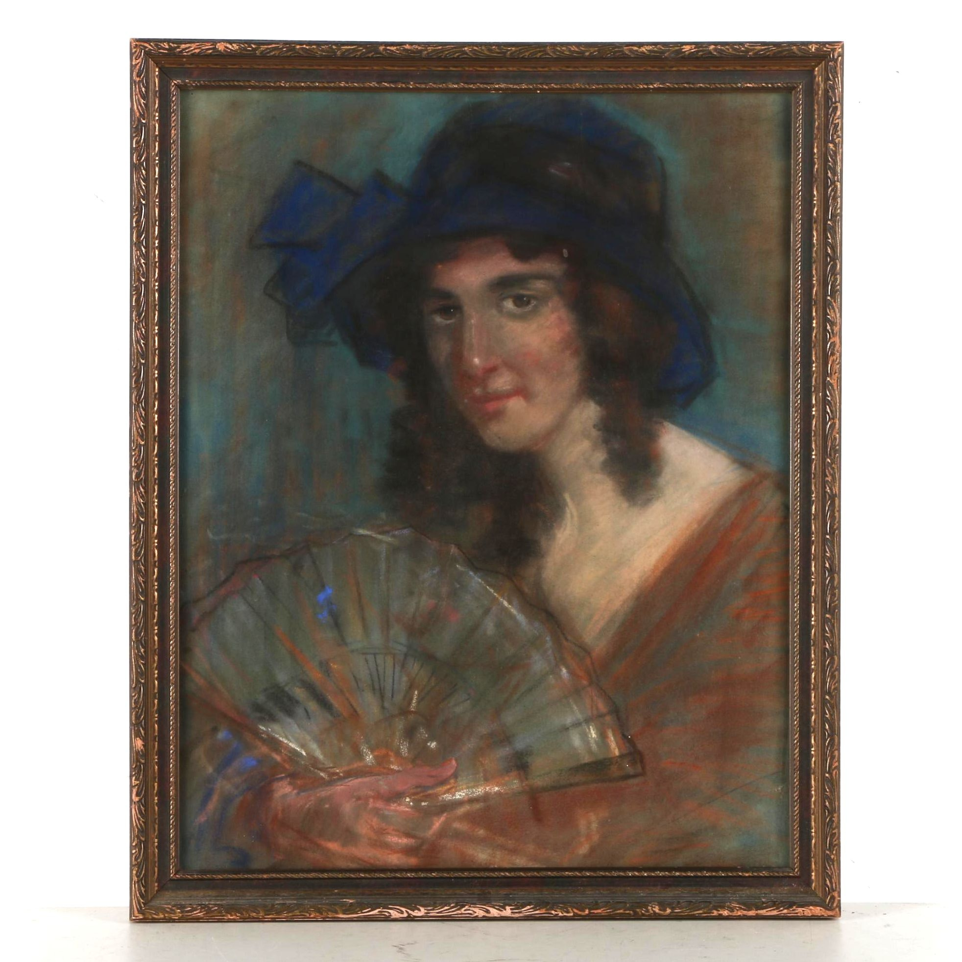 Signed Charcoal and Pastel Drawing on Paper Portrait of a Woman With a Fan