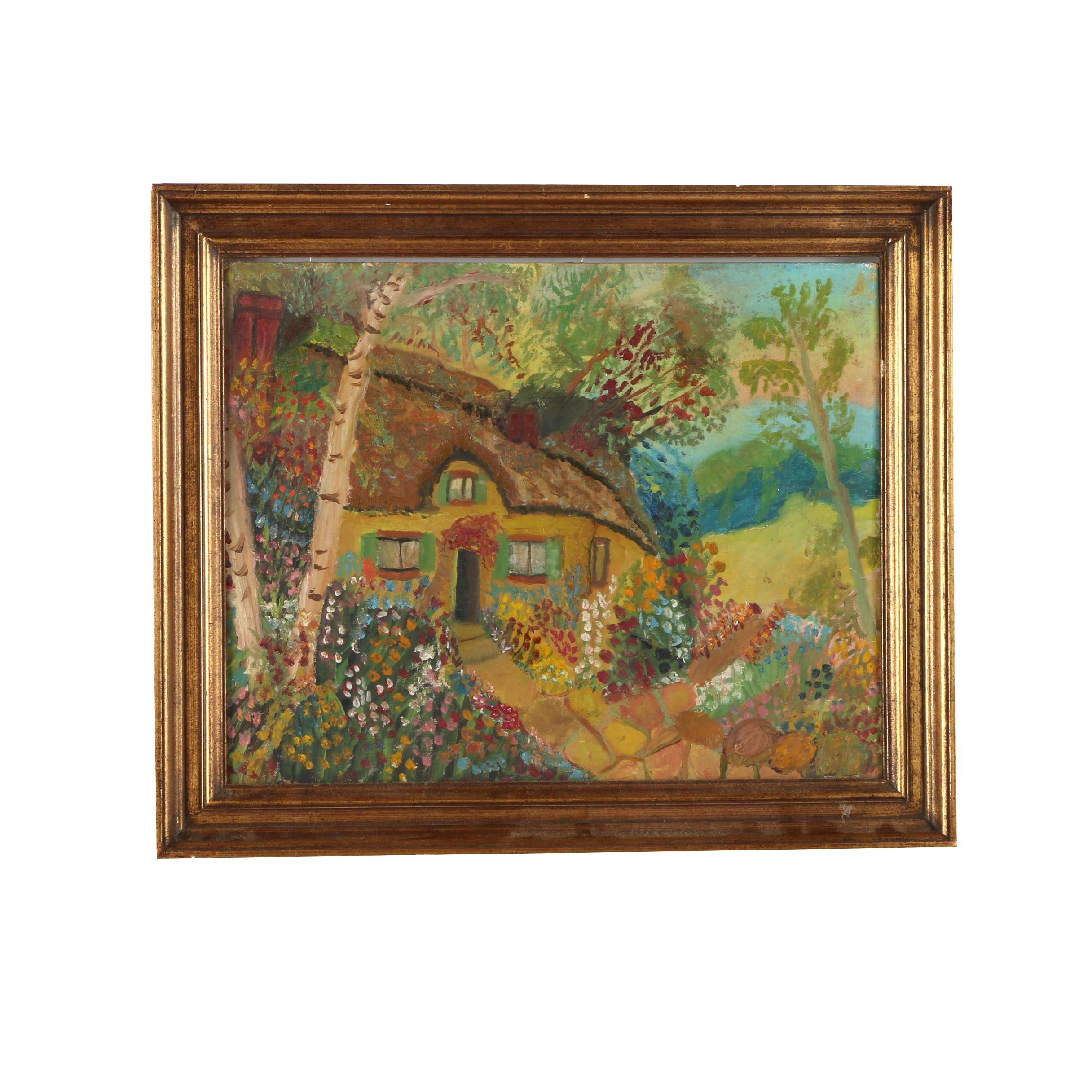 Oil Painting on Canvas Board Cottage Scene