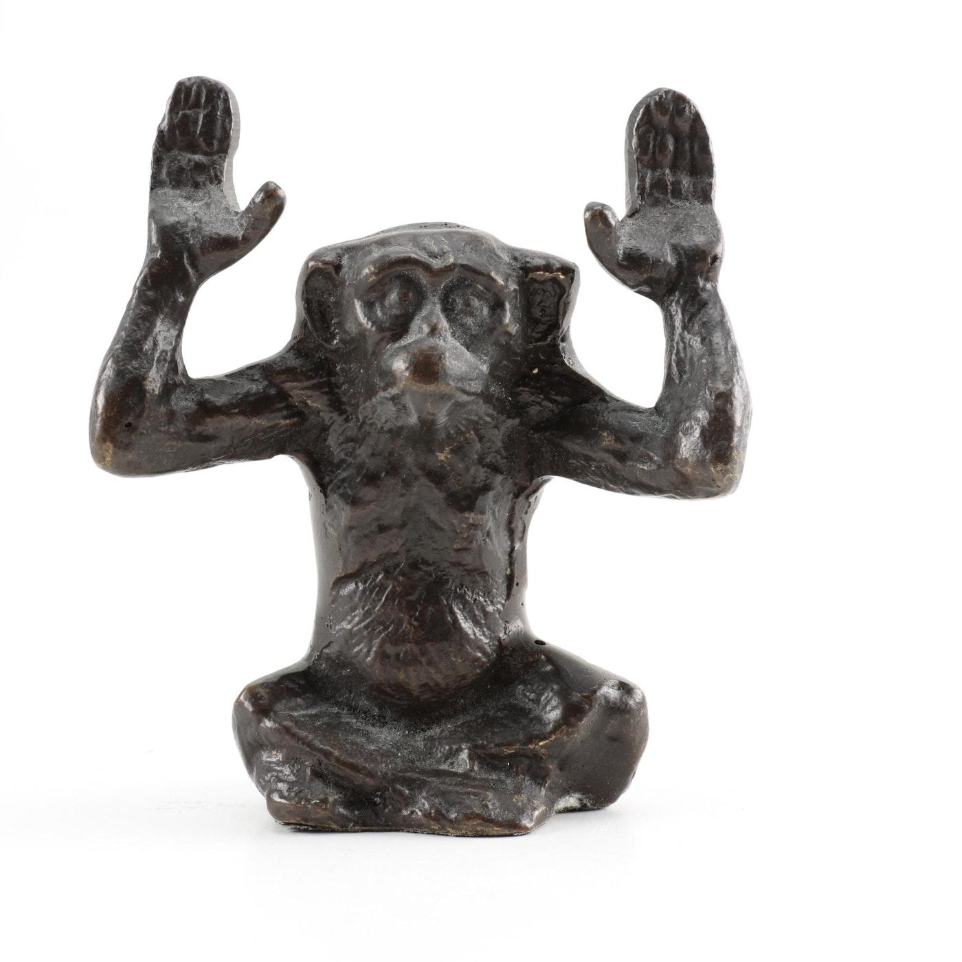 Brass Monkey Statue Ebth