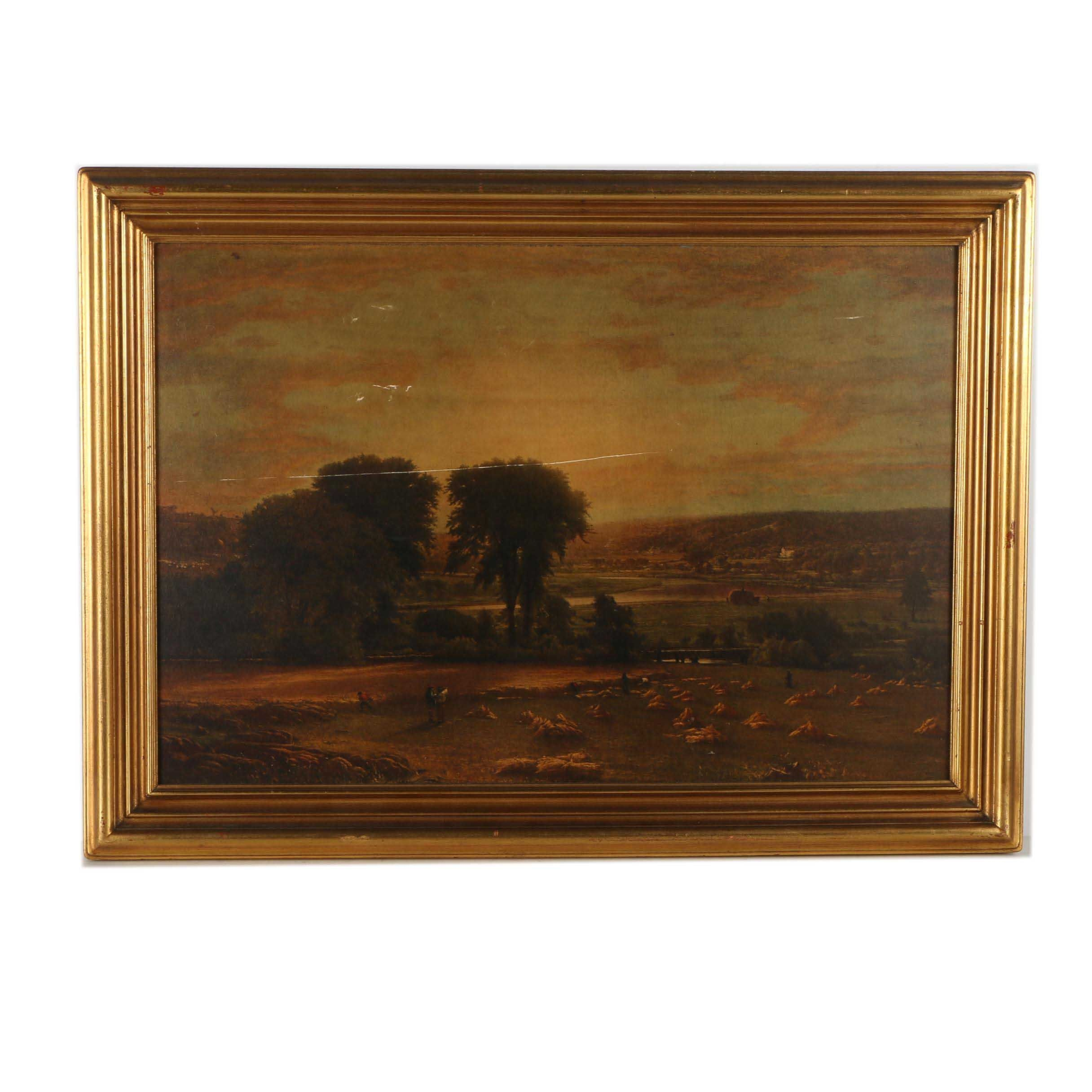 "Giclee Print on Board After George Inness Oil Painting ""Peace and Plenty"""