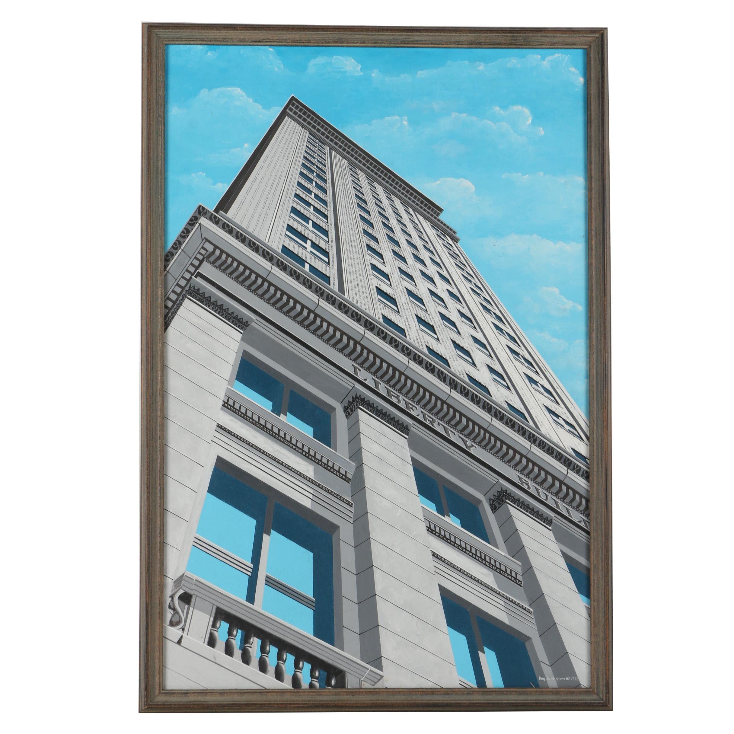 "Roy B. Ahlgren Acrylic Painting on Canvas ""Liberty Building"""