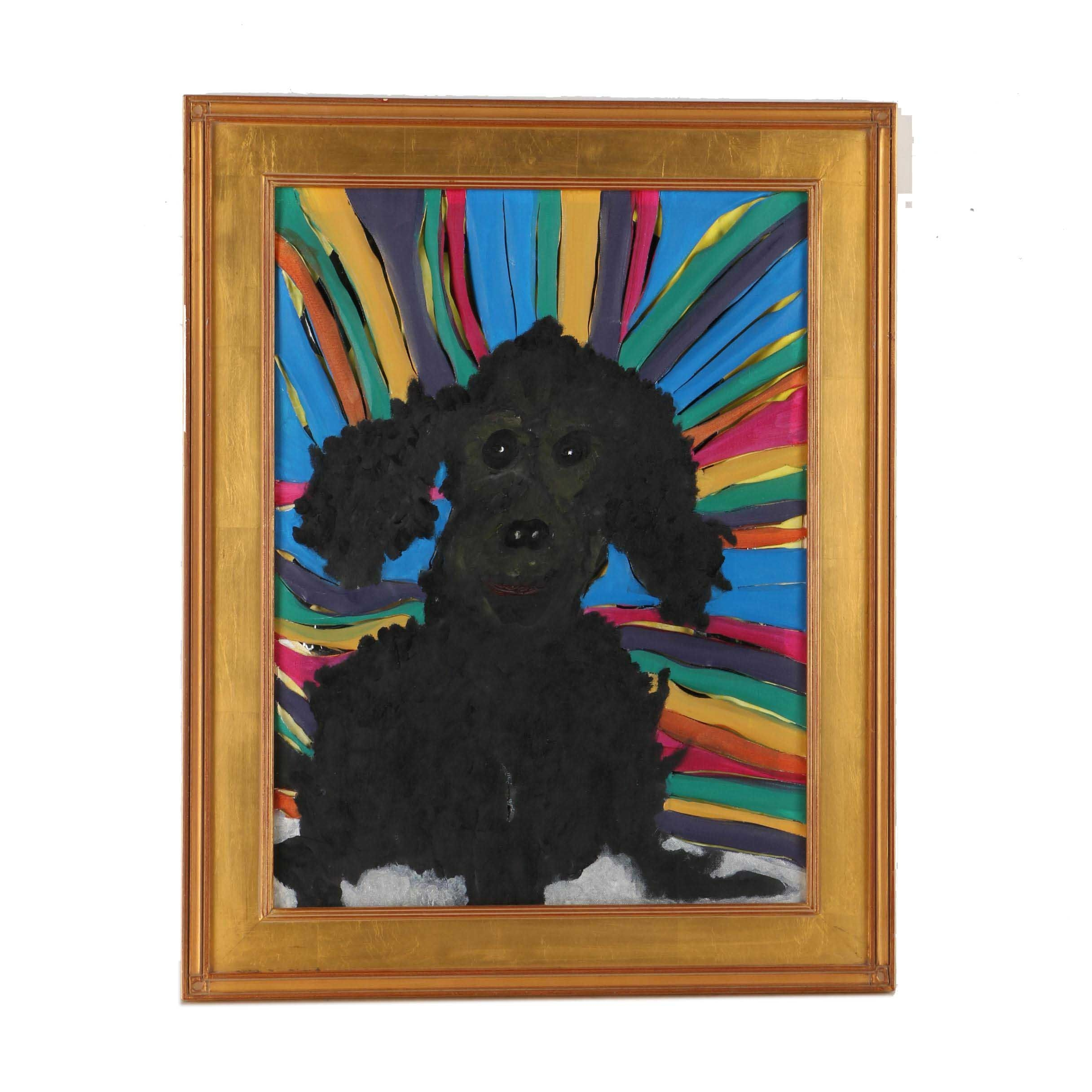 Acrylic Painting on Canvas of Smiling Poodle Against a Rainbow Background