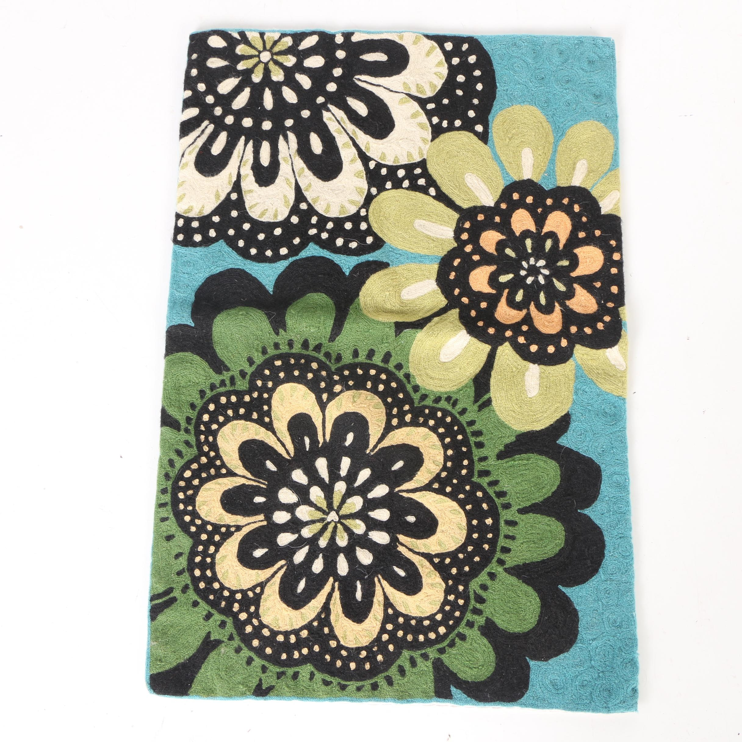 Handwoven Floral Accent Rug