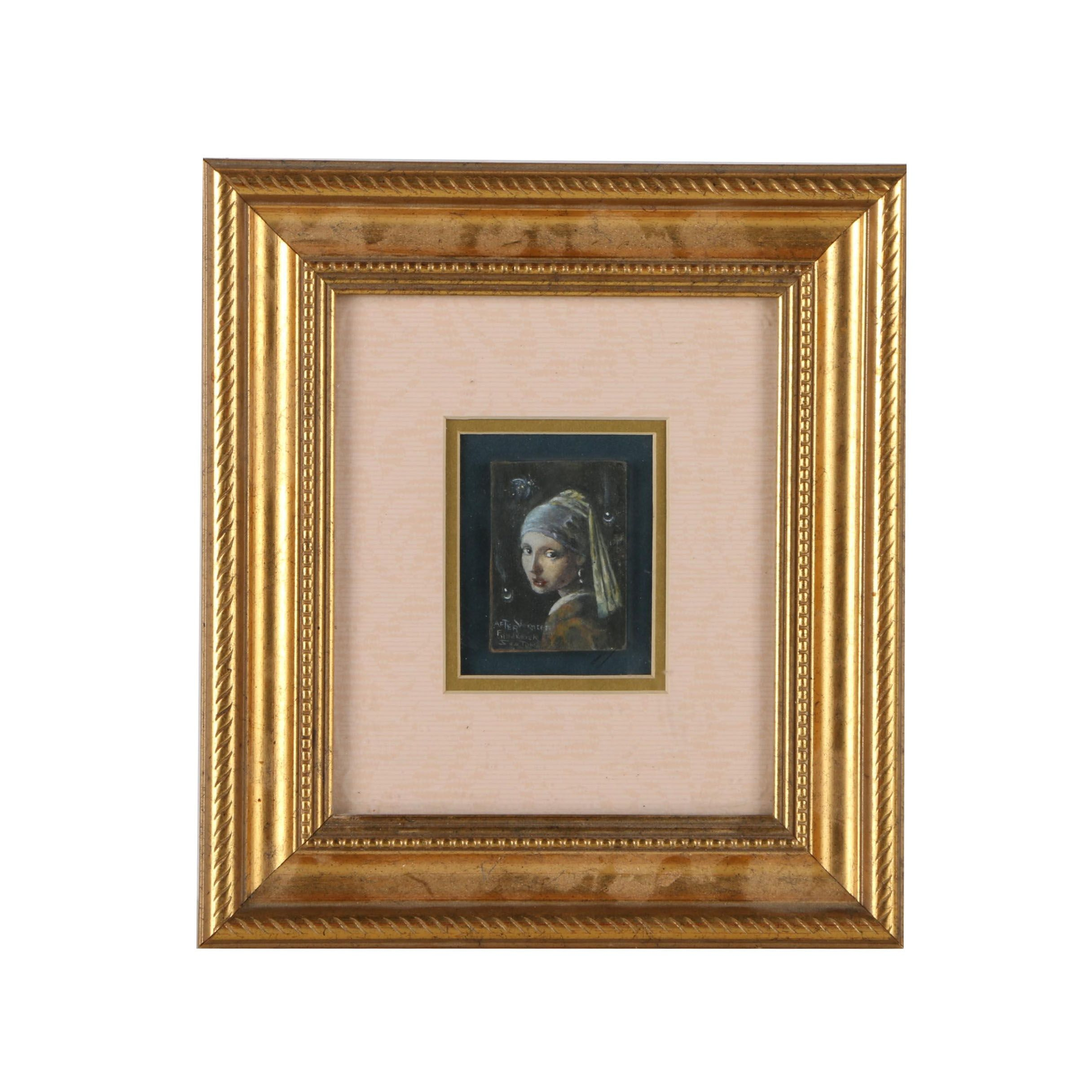 """Oil Copy Painting of Johannes Vermeer """"Girl With a Pearl Earring"""""""