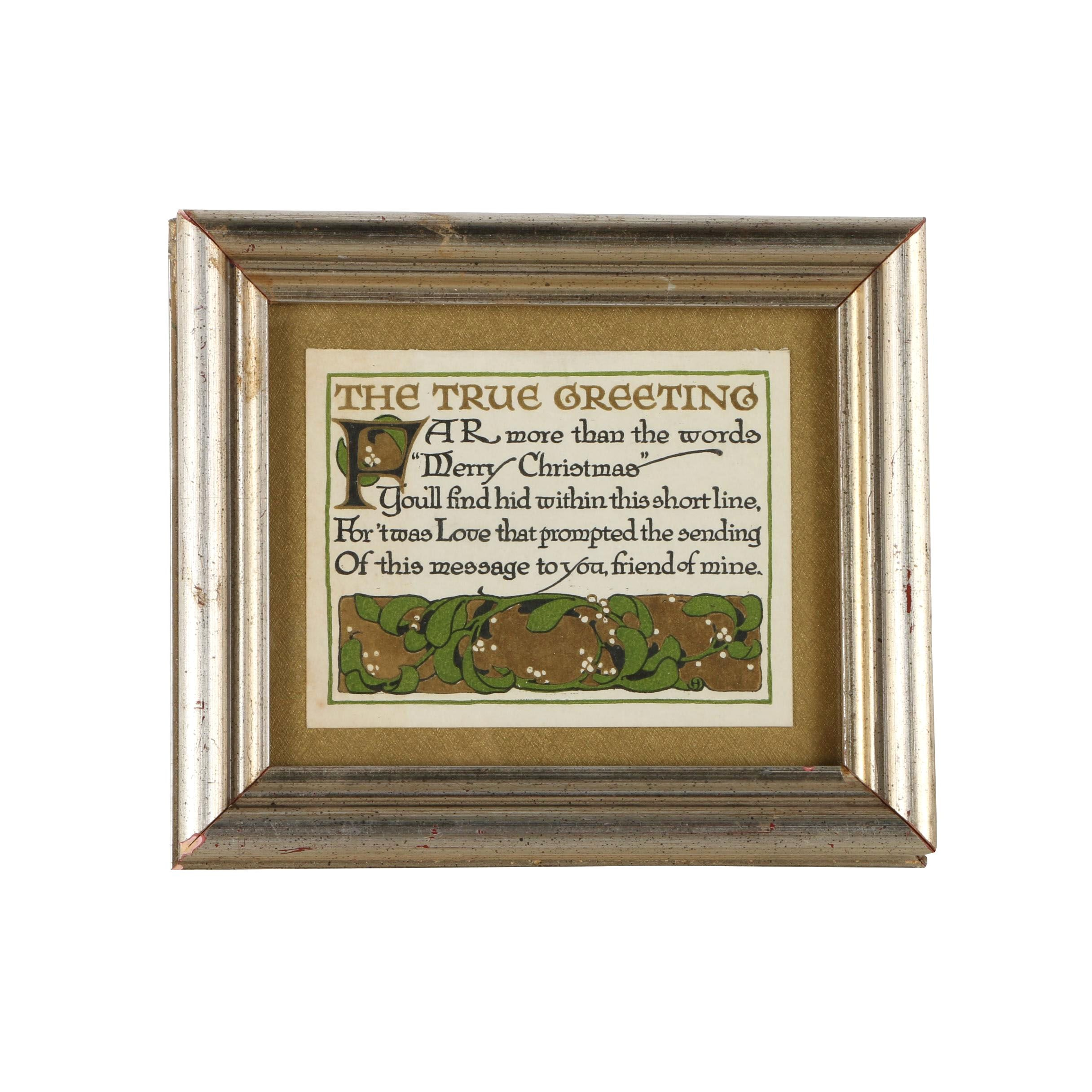 Hand Colored Relief Print of a Christmas Blessing