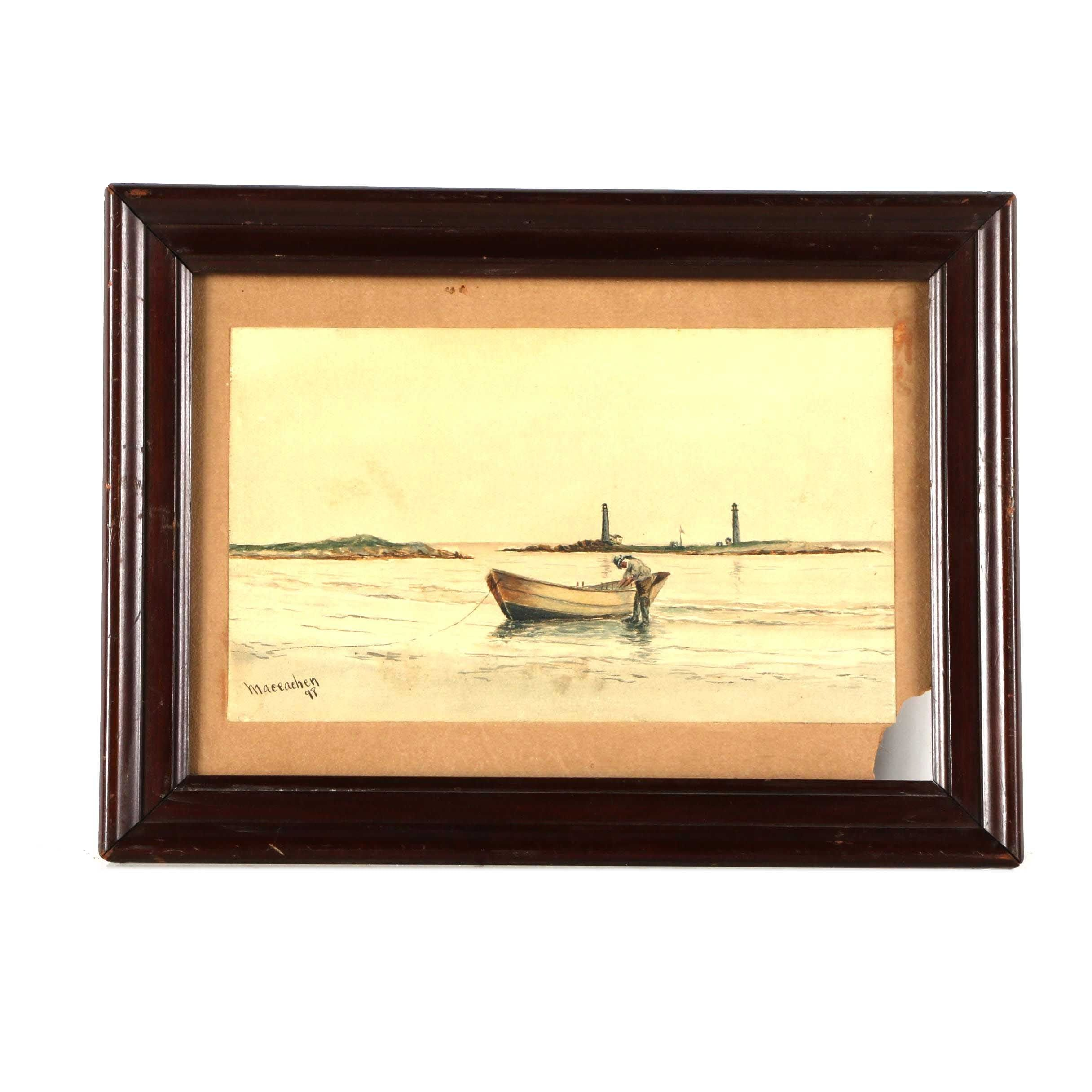 Maceachen Watercolor on Paper River Landscape with Fishing Boat