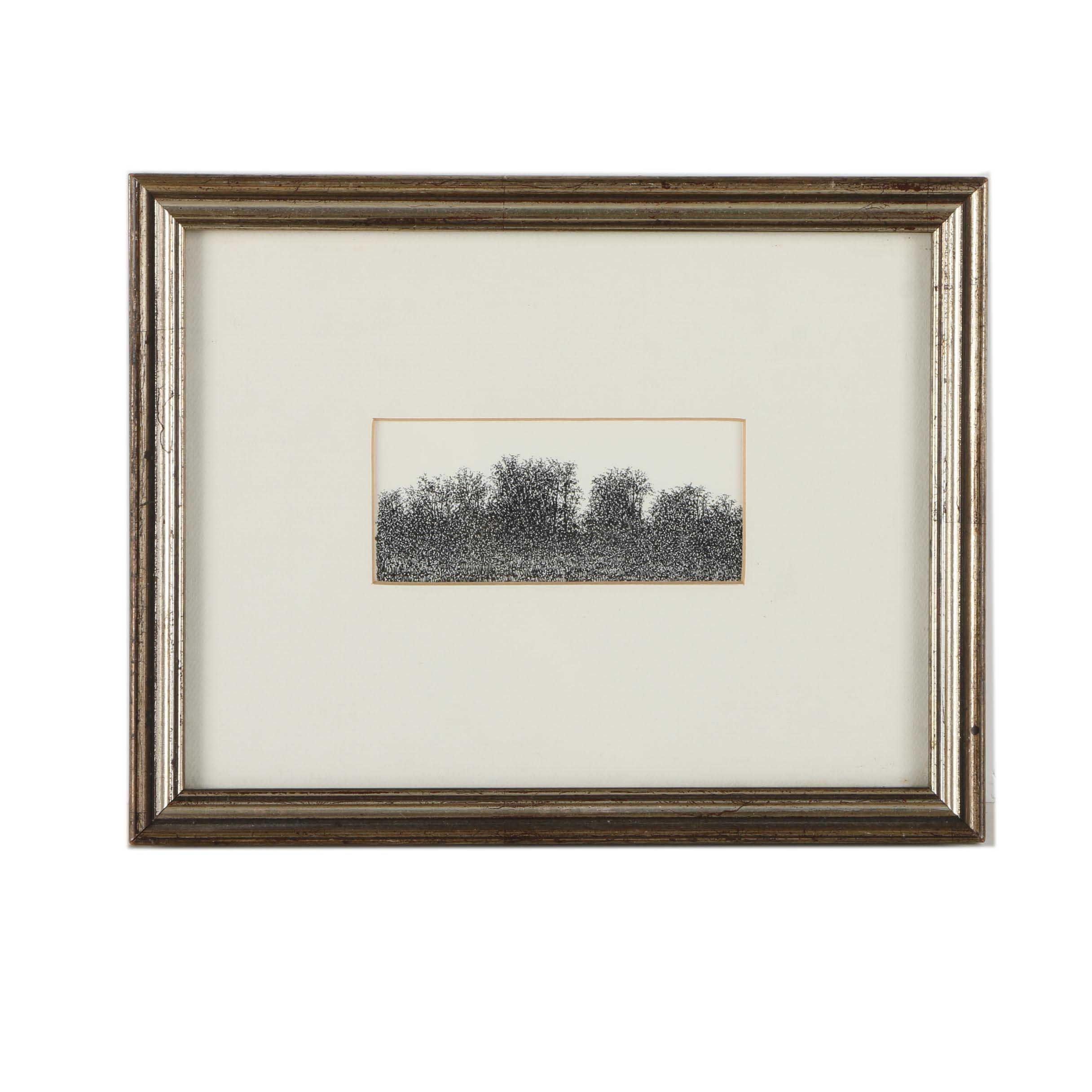 "Ink Drawing on Paper ""Early Summer Treeline"""