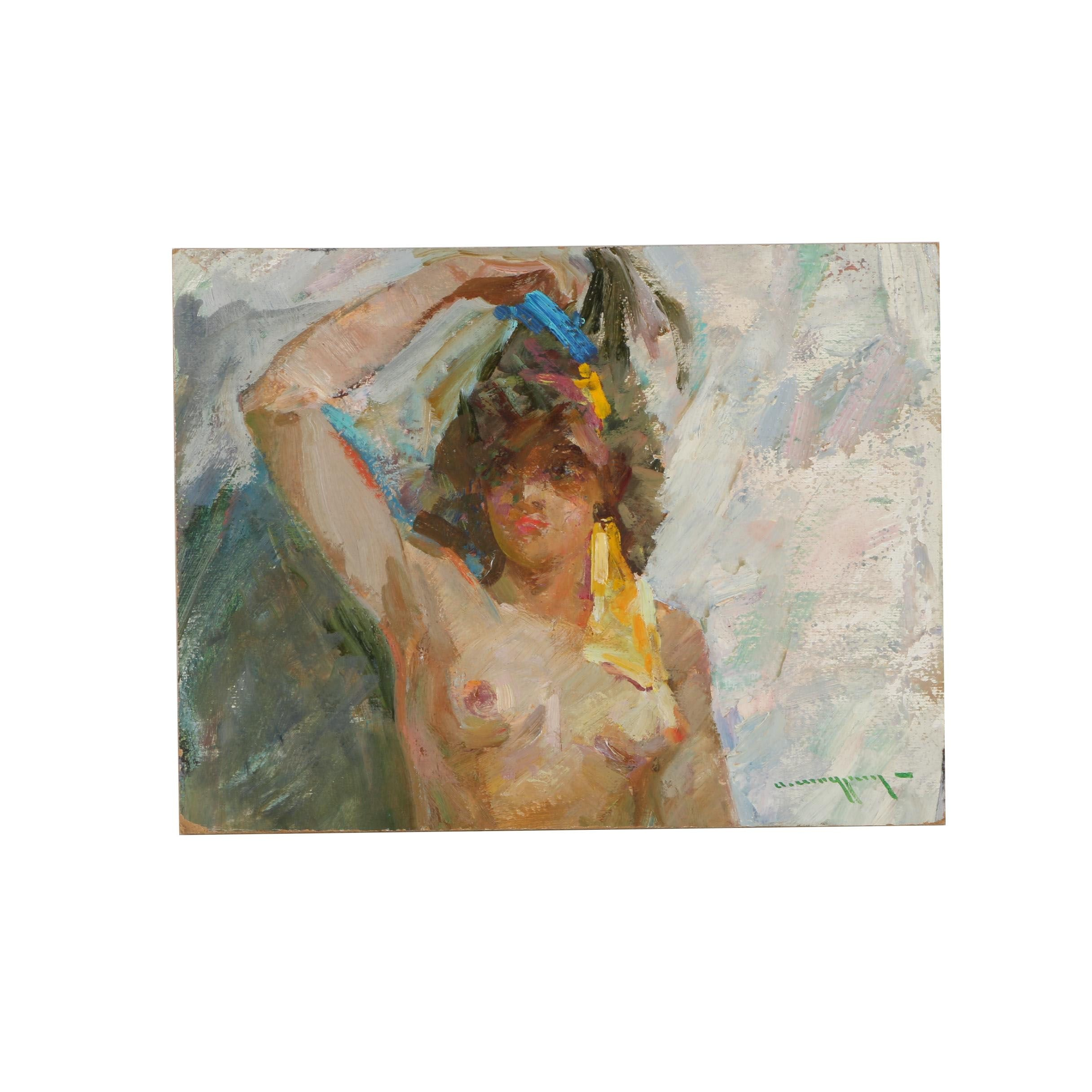 Alexander Shadrin Original Oil Figure Painting on Paper Board