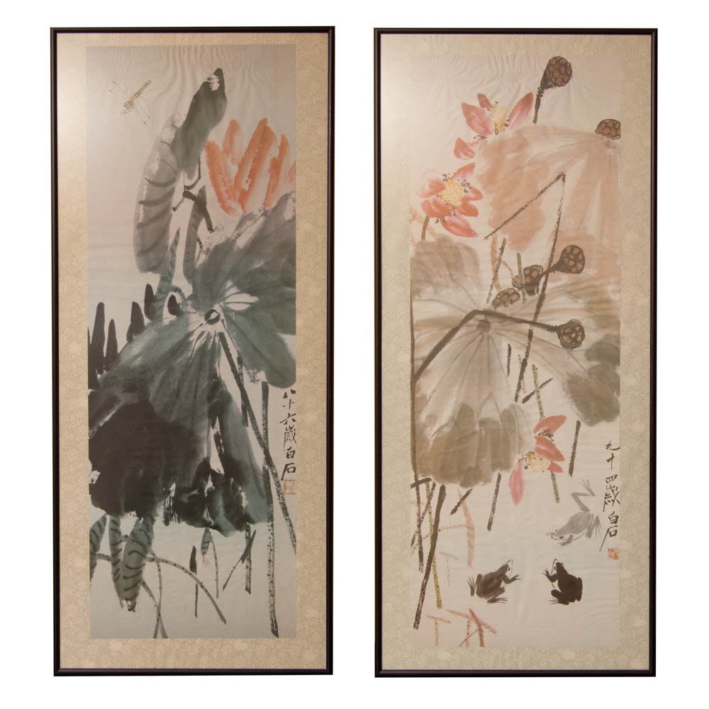 Pair of Framed Asian Offset Lithographs