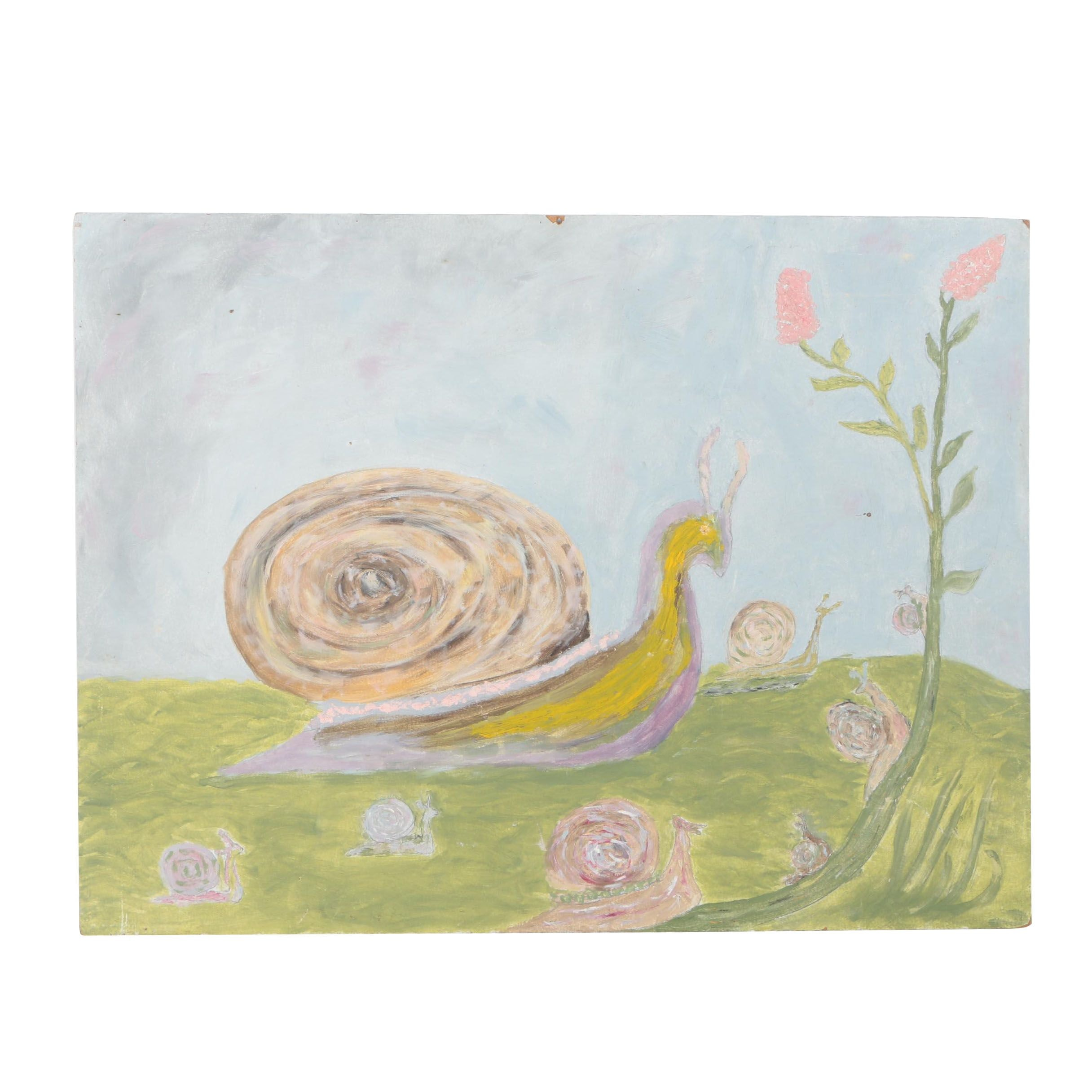 Oil Painting on Panel of Snails
