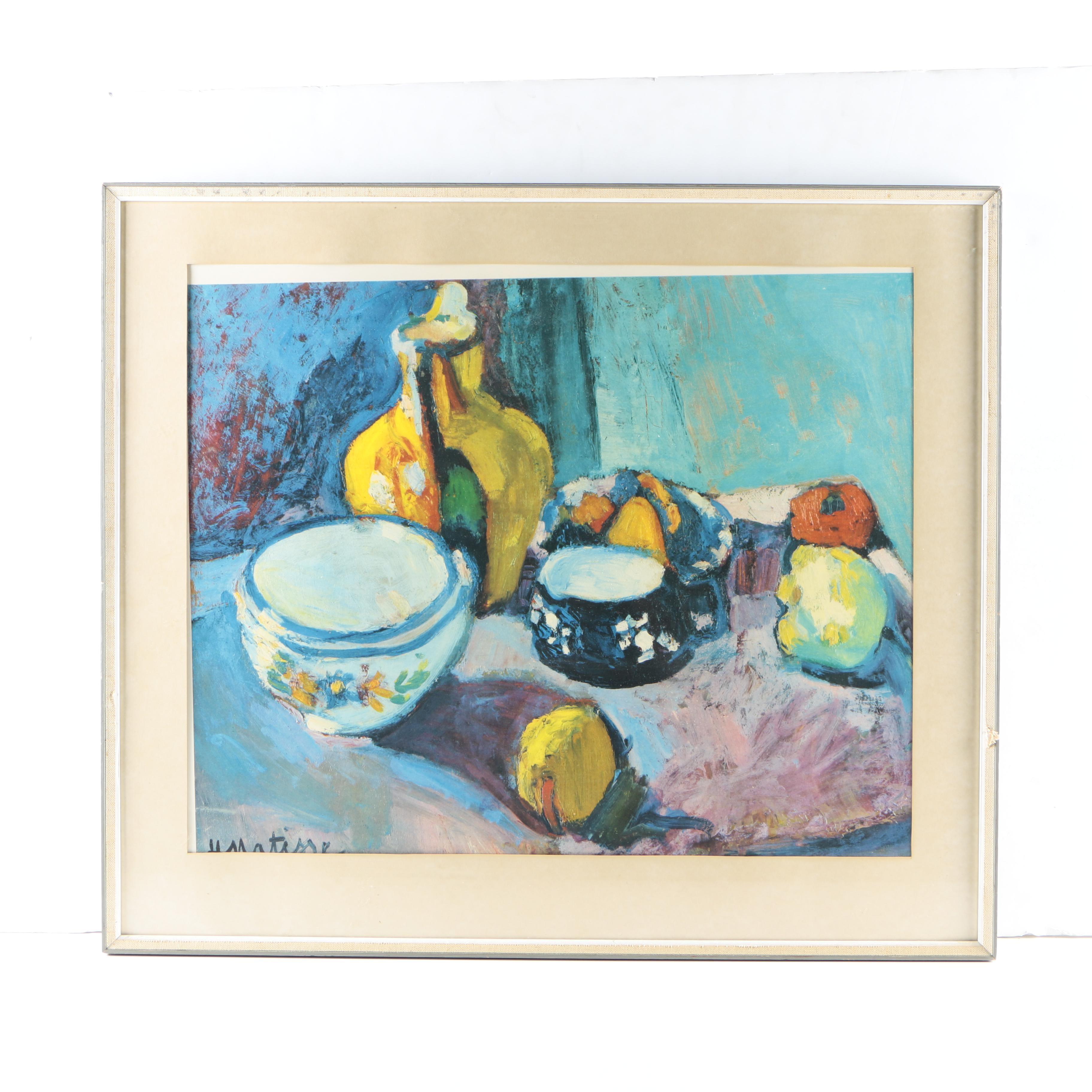 """After Henri Matisse Offset Lithograph """"Dishes and Fruit"""""""