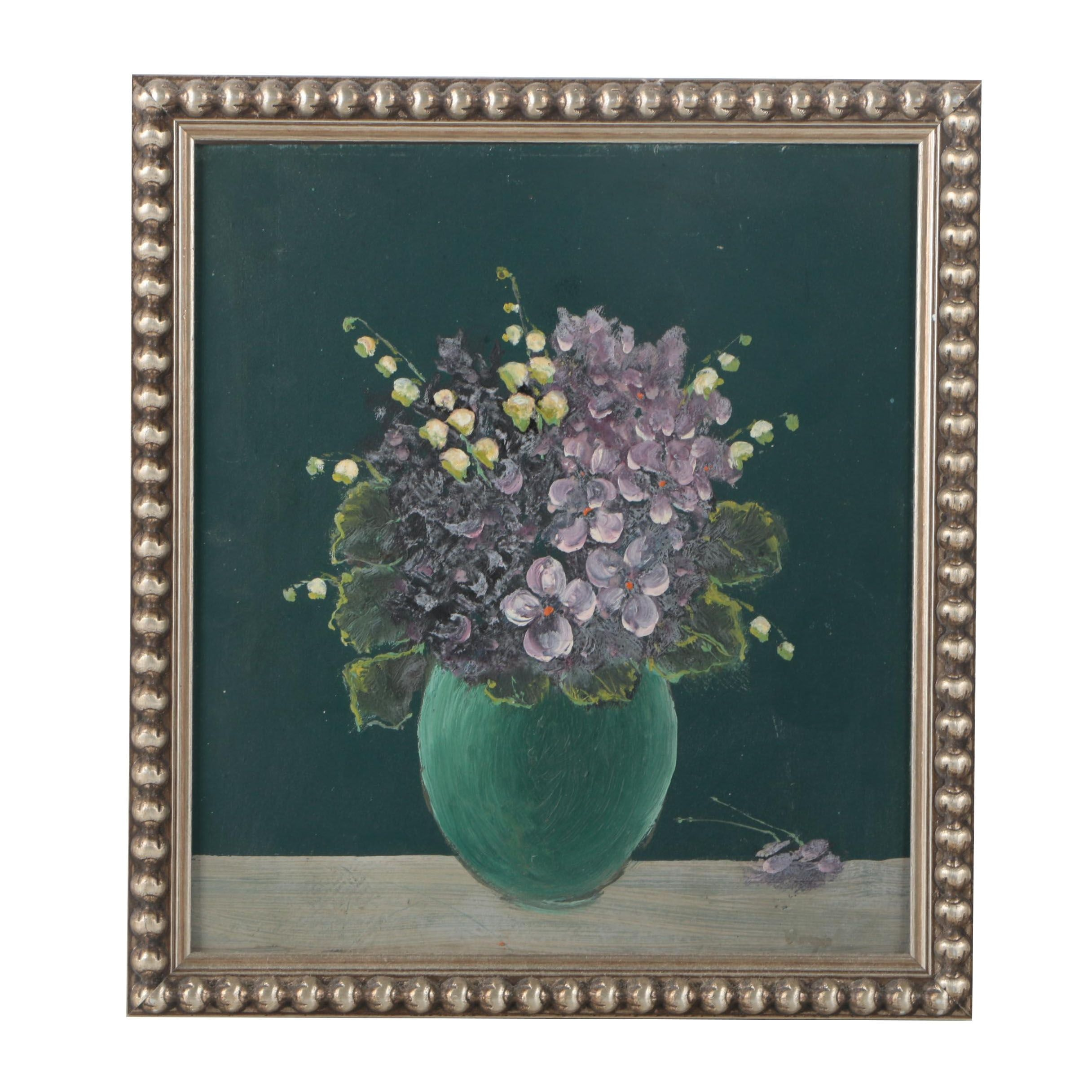 Oil Painting on Board of Floral Still Life