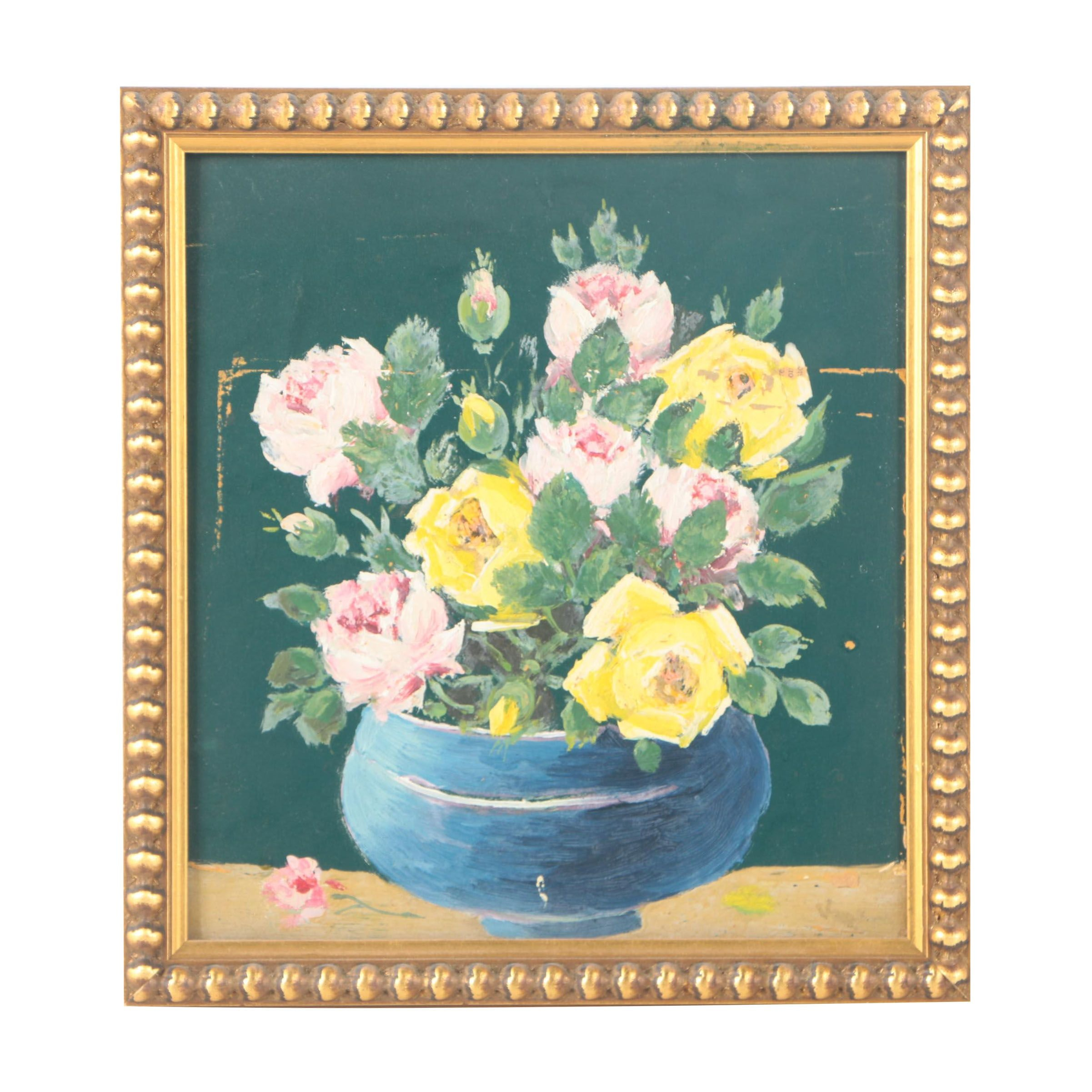 Oil Painting on Wood Panel of Floral Still Life